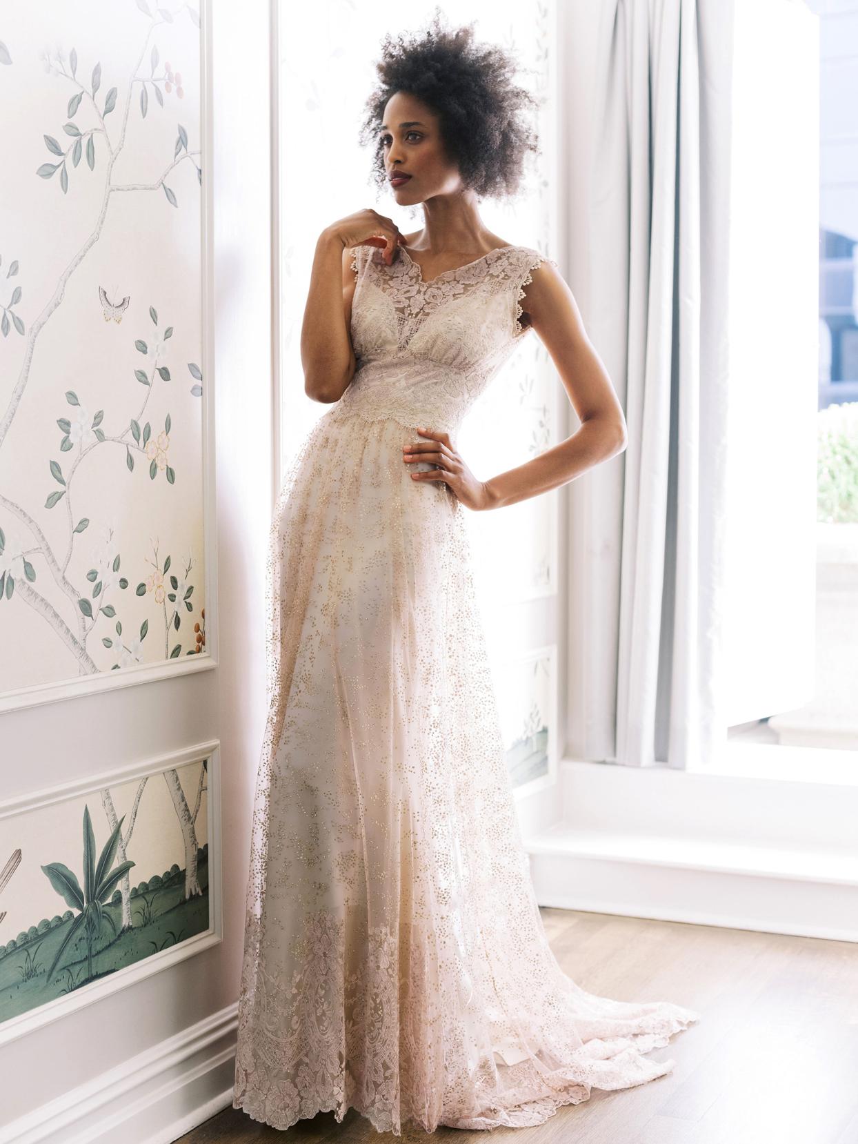 Claire Pettibone sleeveless thick strap lace a-line wedding dress fall 2020
