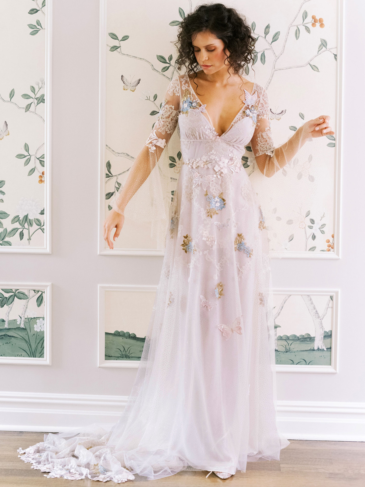 Claire Pettibone sheer long sleeve blue embroidered lace detailing deep v-neck a-line wedding dress fall 2020