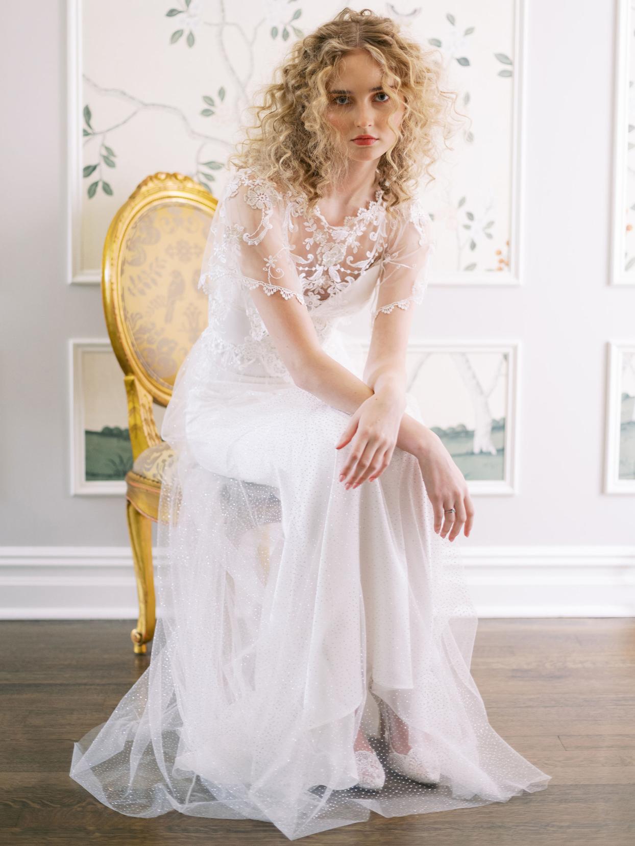 Claire Pettibone sheer lace short sleeve high neck a-line wedding dress fall 2020