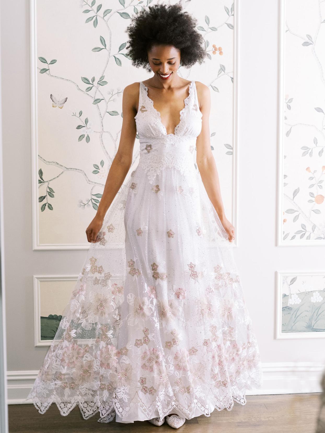Claire Pettibone thin strap deep v-neck lace detailing a-line wedding dress fall 2020