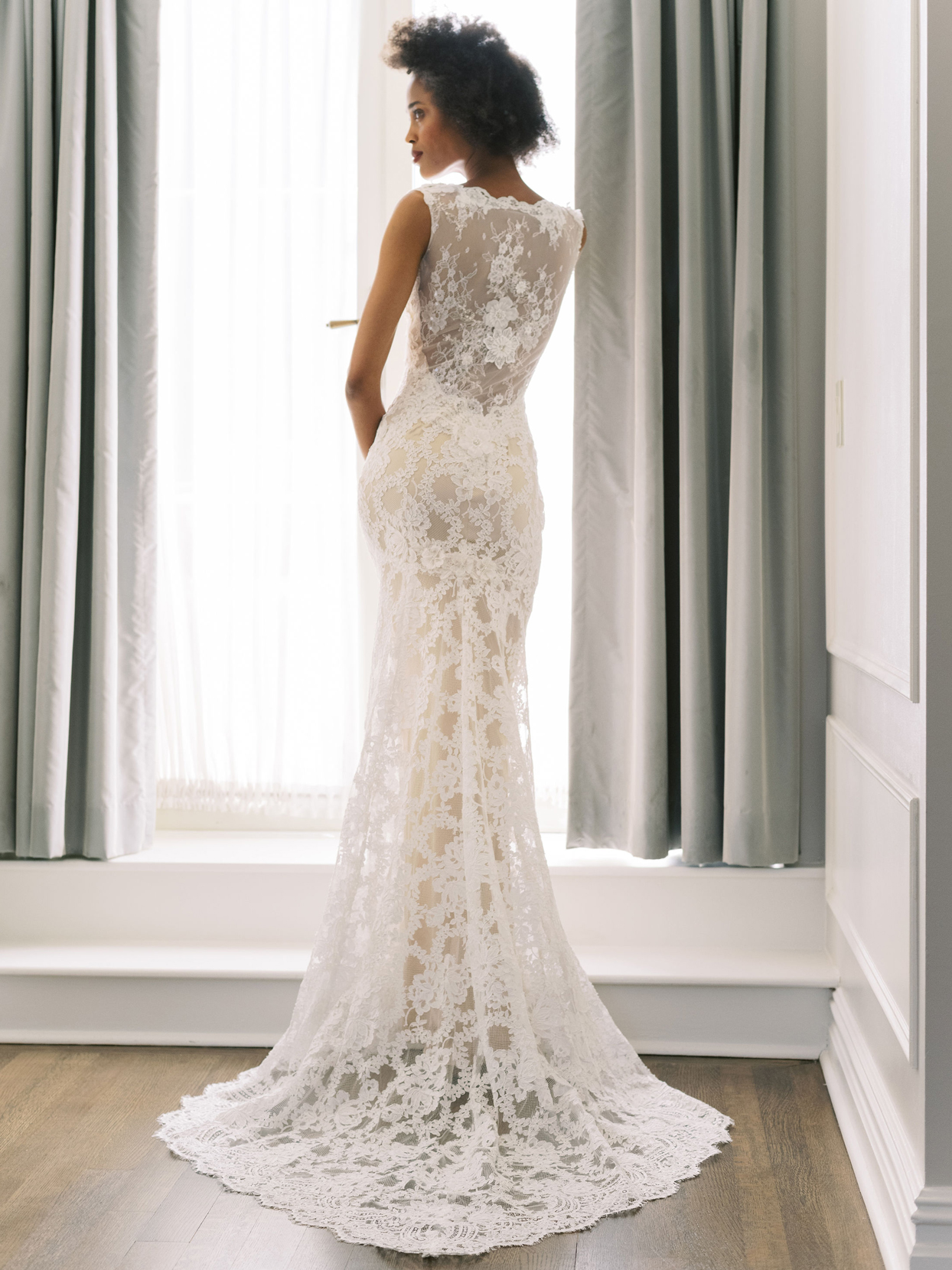 Claire Pettibone sheer lace back fit and flare train wedding dress fall 2020