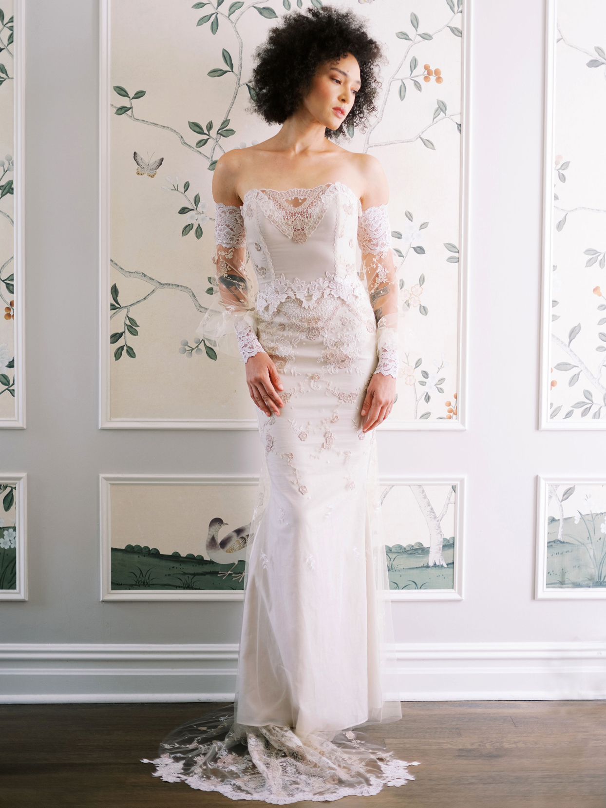 Claire Pettibone off the shoulder long sleeve lace wedding dress fall 2020
