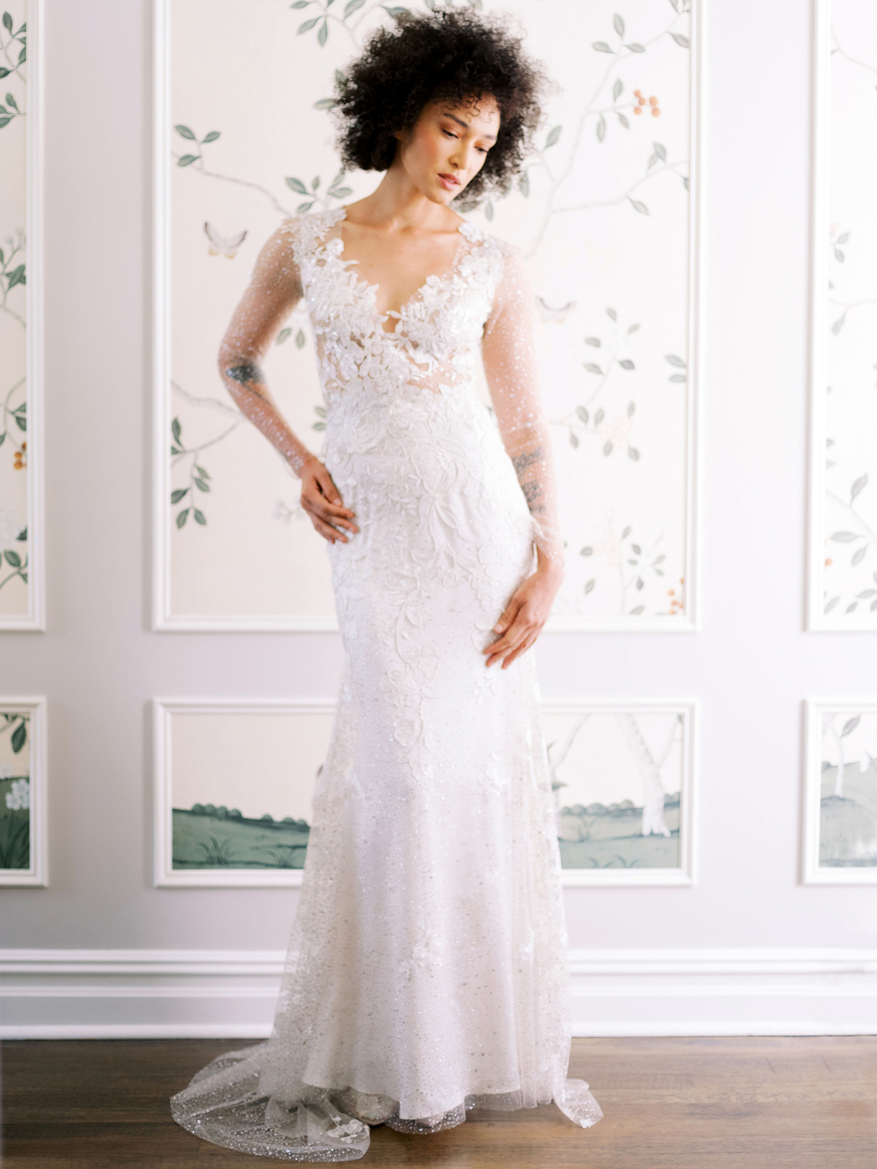 Claire Pettibone sheer long sleeve lace v-neck fit and flare wedding dress fall 2020