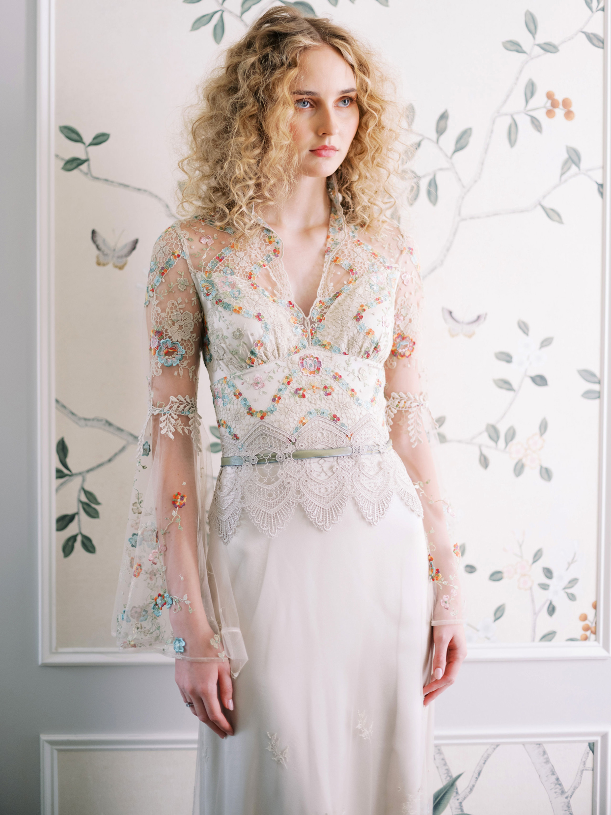 Claire Pettibone sheer long sleeve colored embroidered lace v-neck wedding dress fall 2020