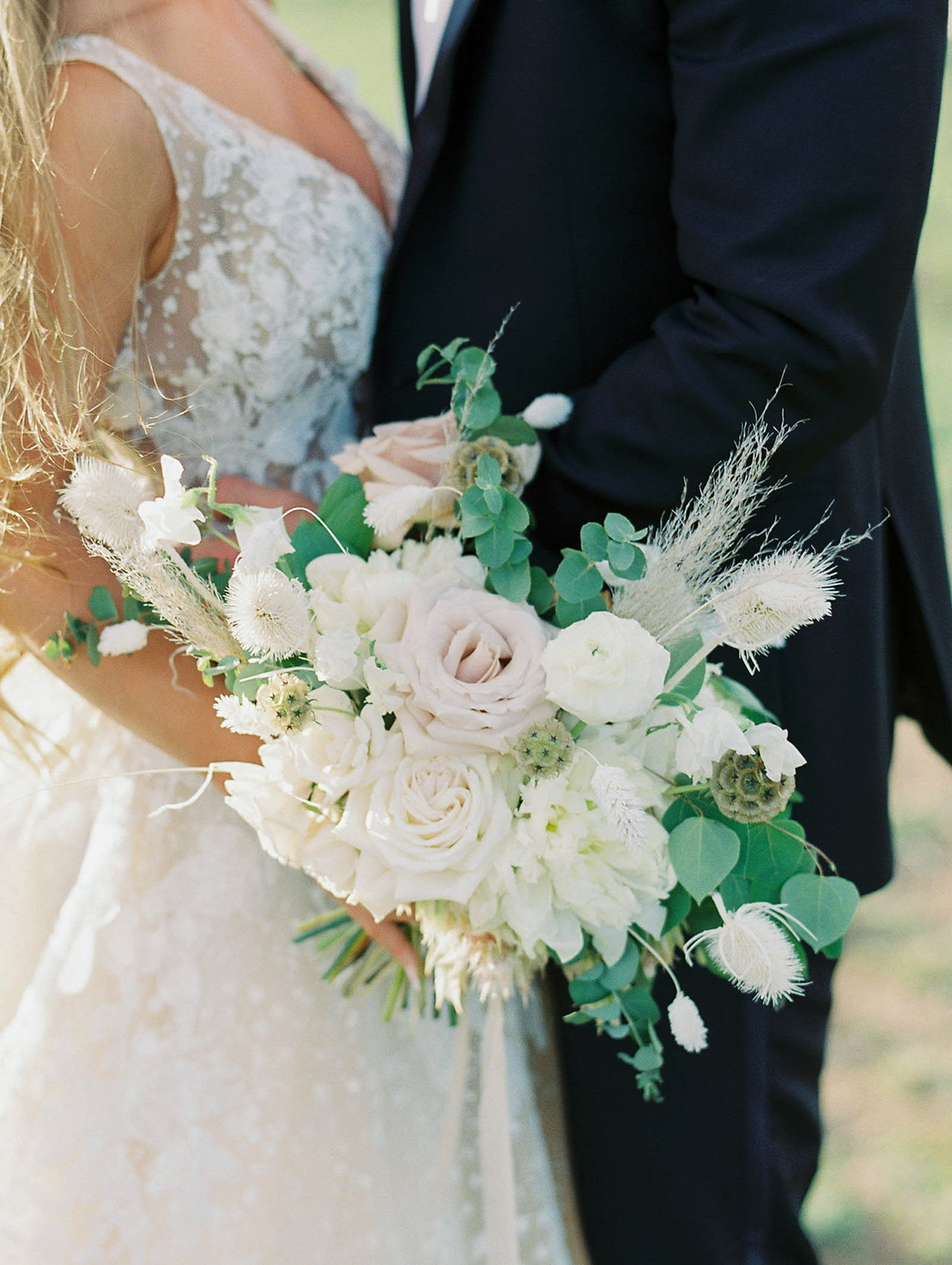 bohemian ivory flower bouquet greenery arrangement