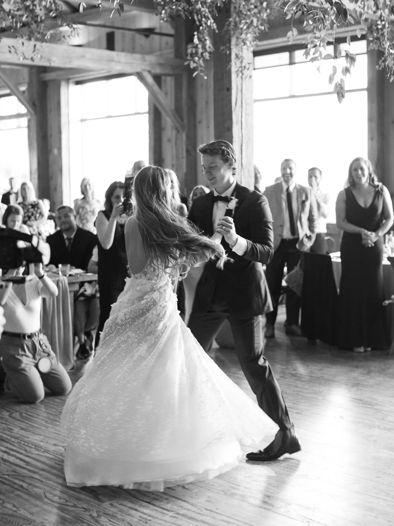 bride groom reception first dance black white