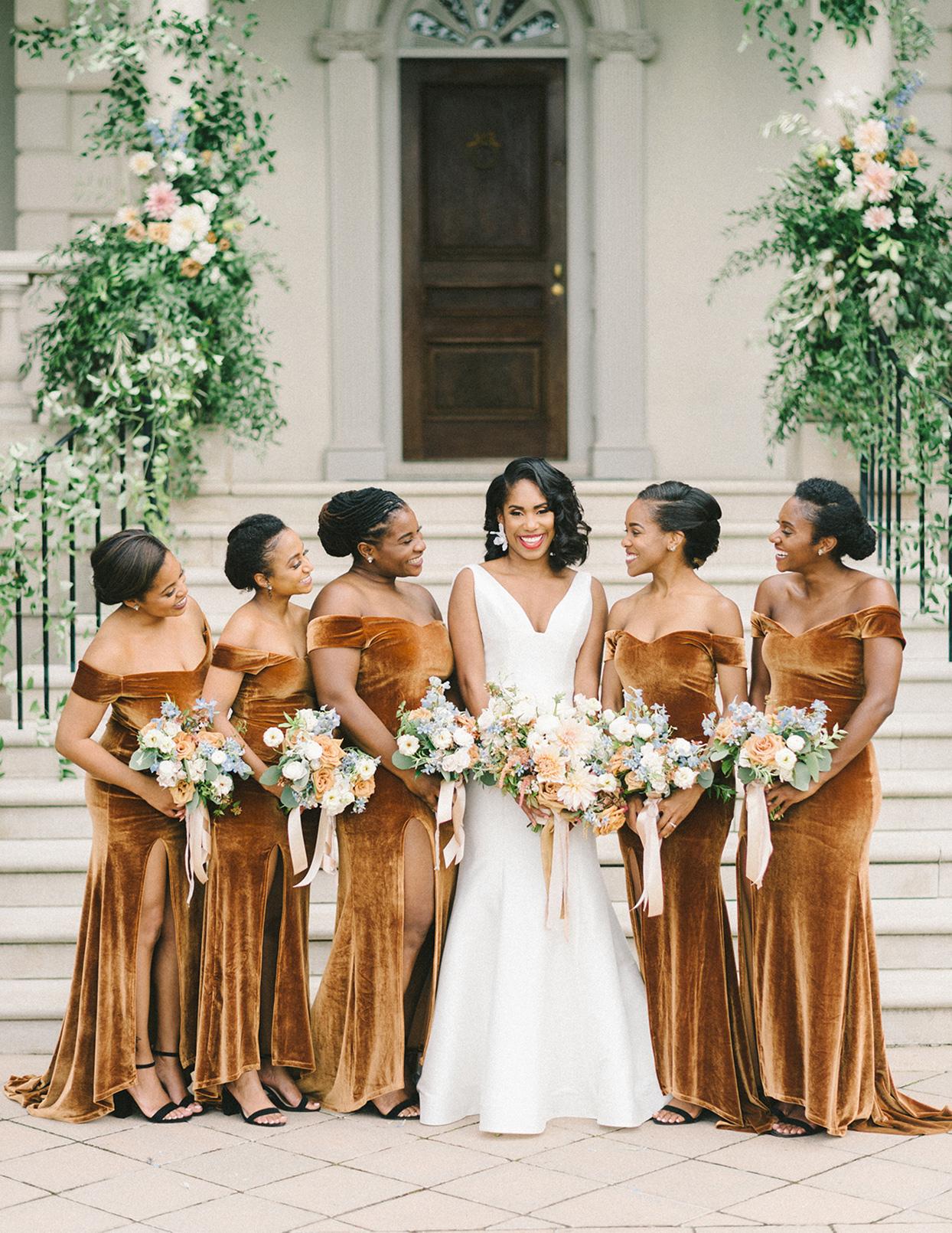 ericka meechaeyl wedding bridesmaids in rust velvet dresses