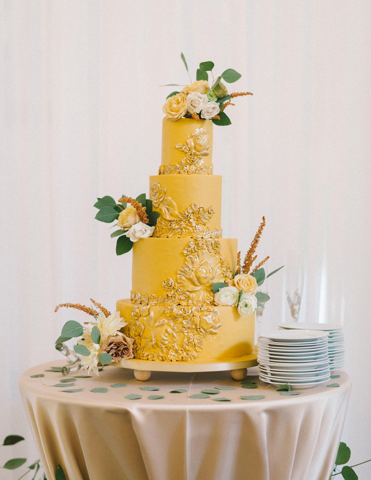 ericka meechaeyl wedding mustard yellow cake