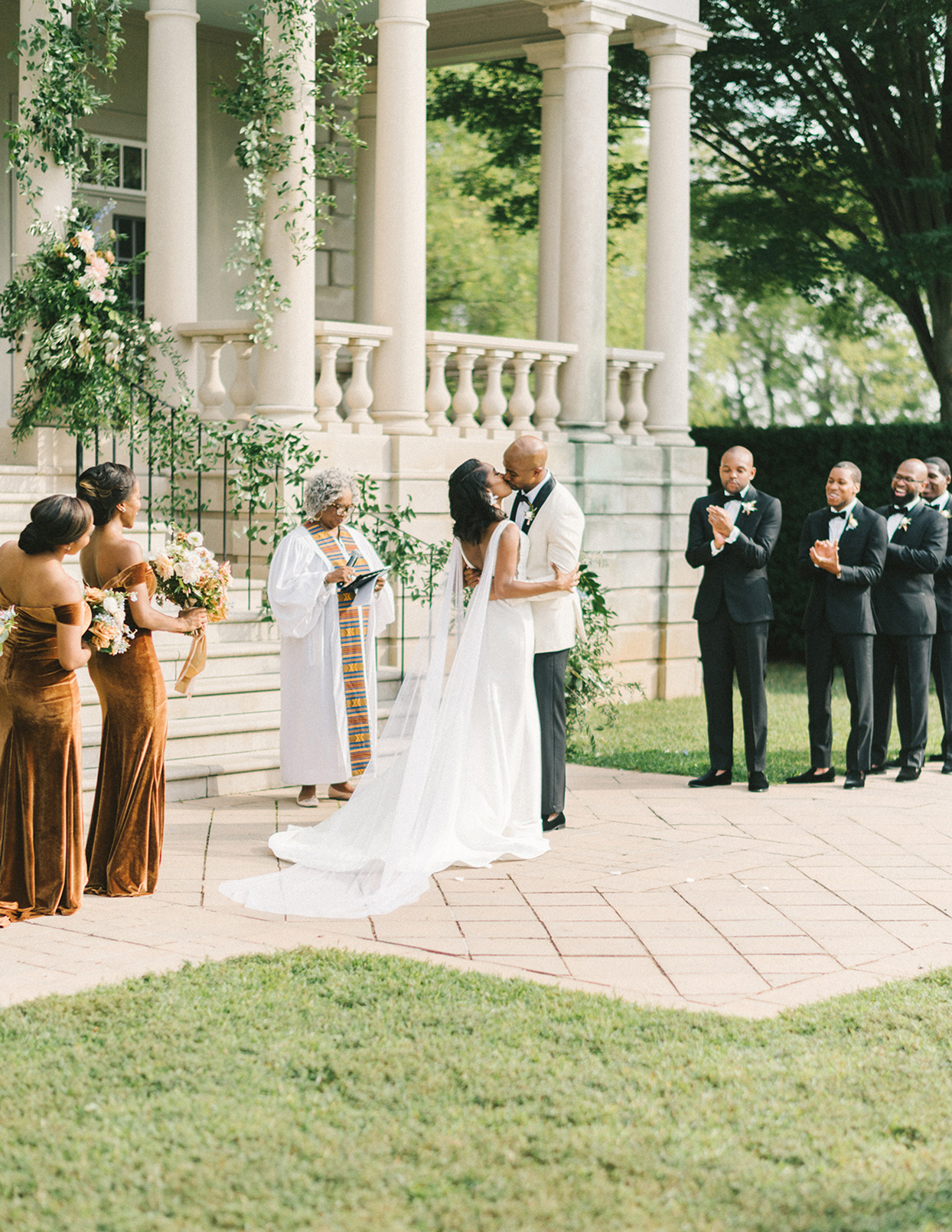 ericka meechaeyl wedding ceremony kiss