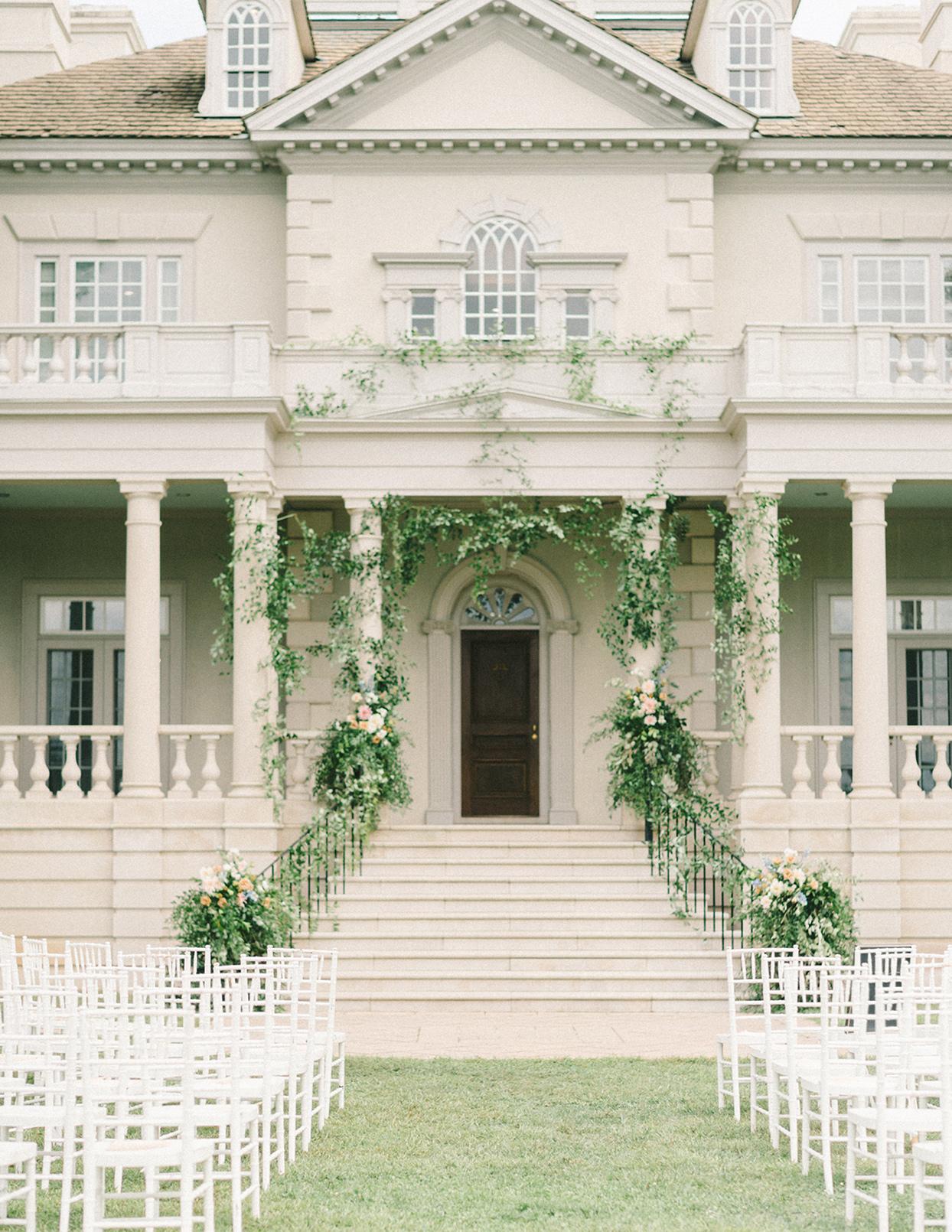 ericka meechaeyl wedding mansion front steps ceremony location