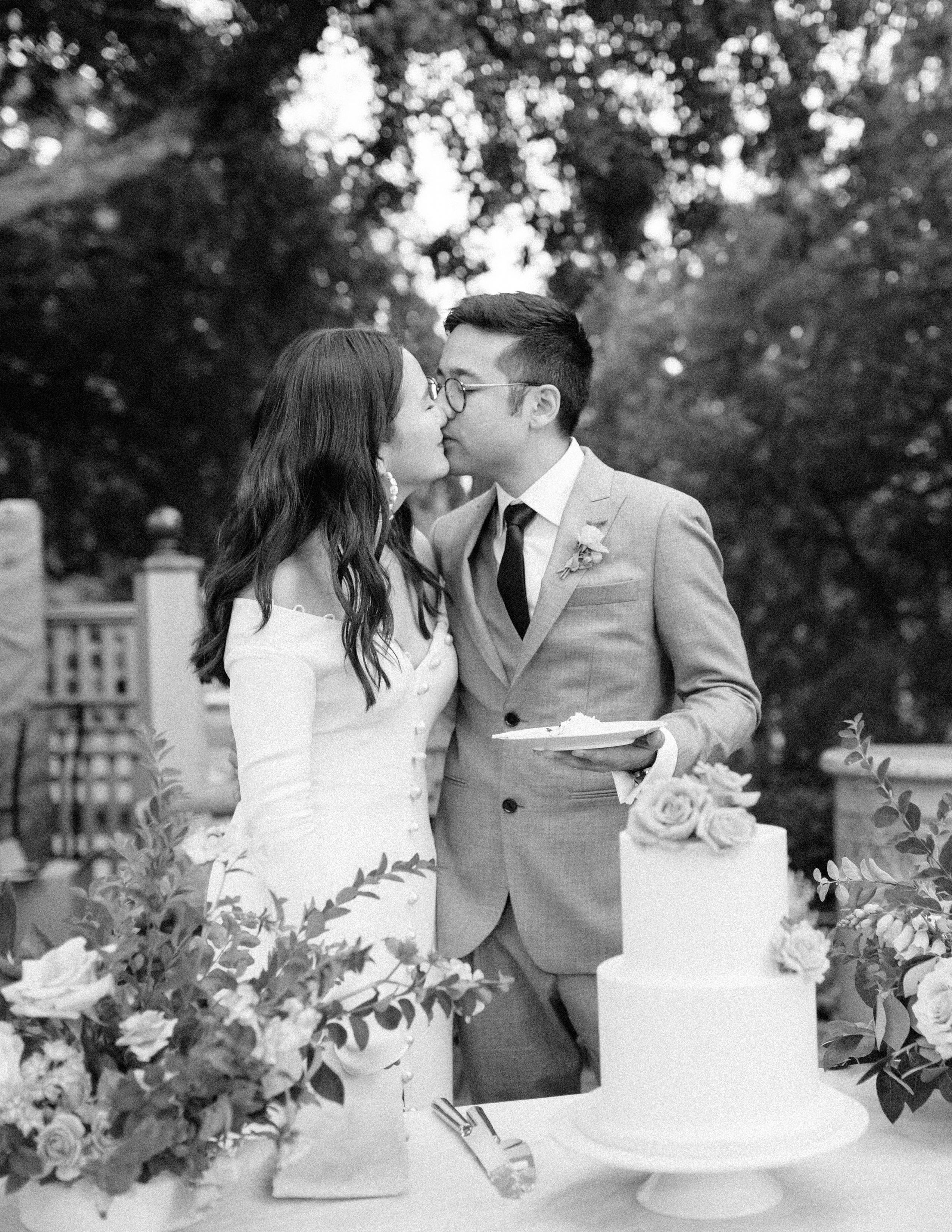 evelyn sam wedding kiss during reception