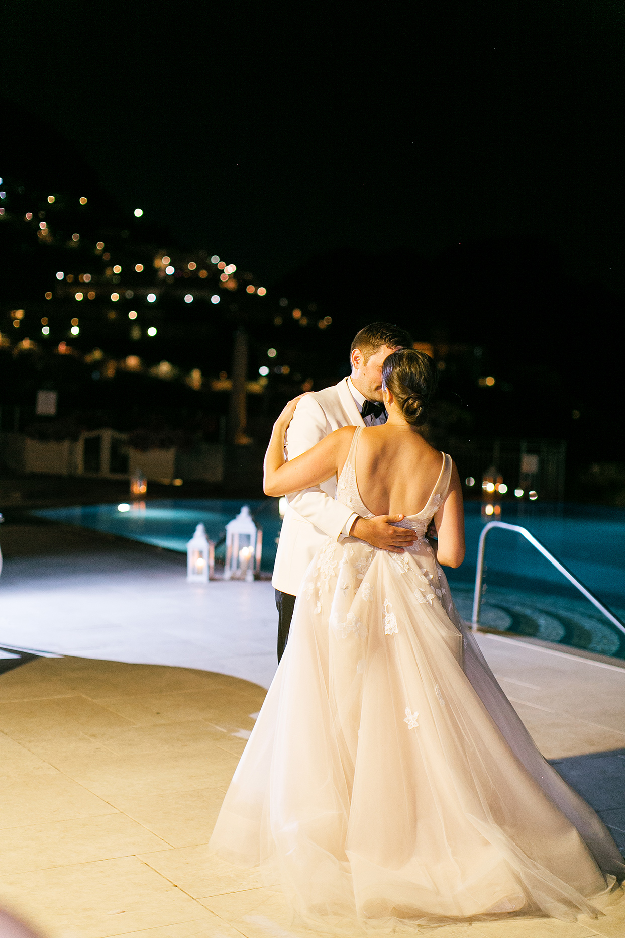 jacqueline david wedding first dance by pool