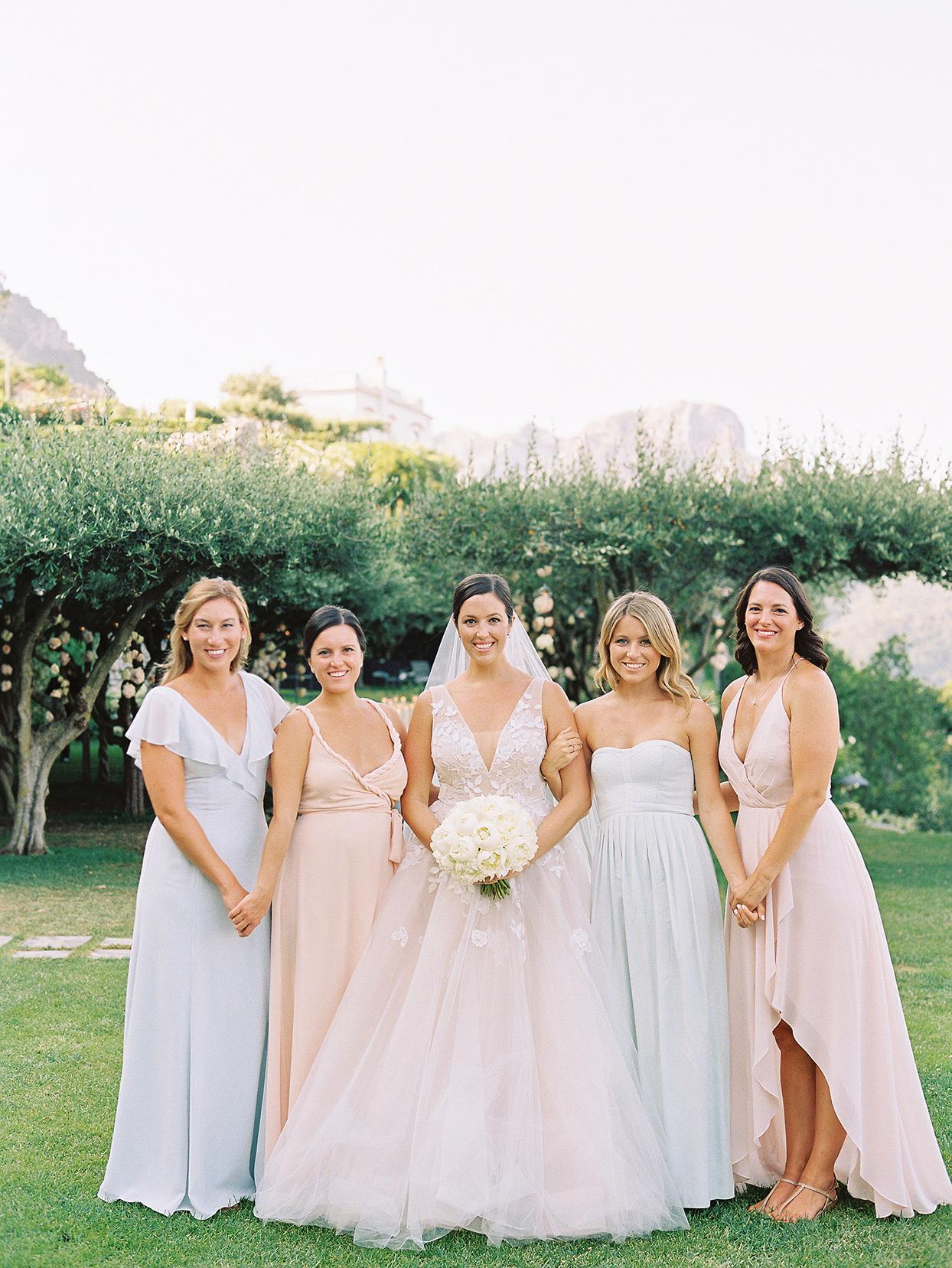 jacqueline david wedding bridesmaids in pastels