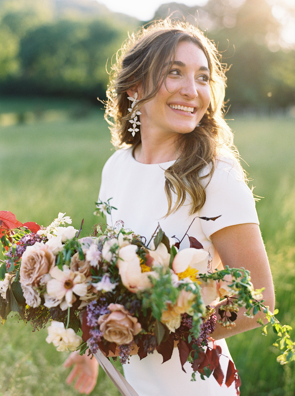 julia doug bride holding wedding bouquet