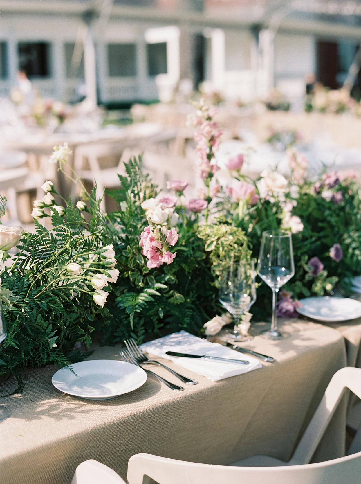 julia doug wedding reception place setting long table