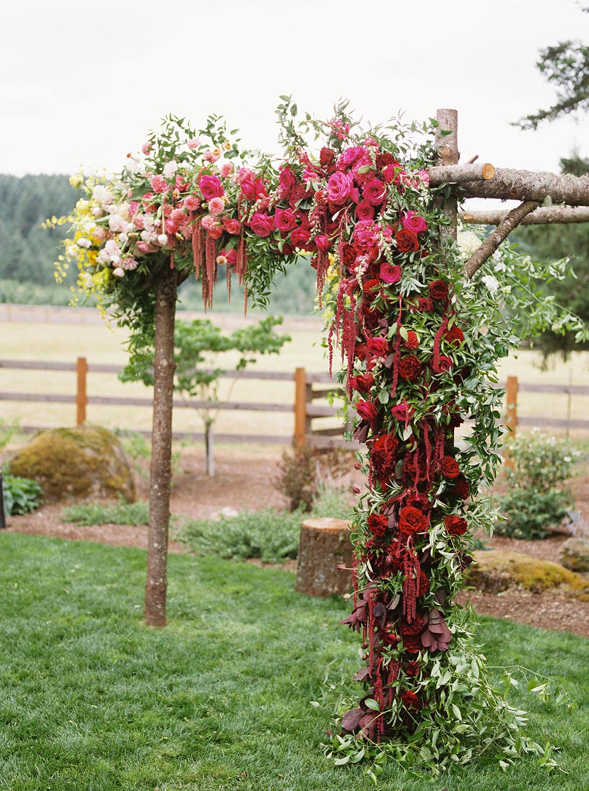 justin kevin wedding ceremony floral alter