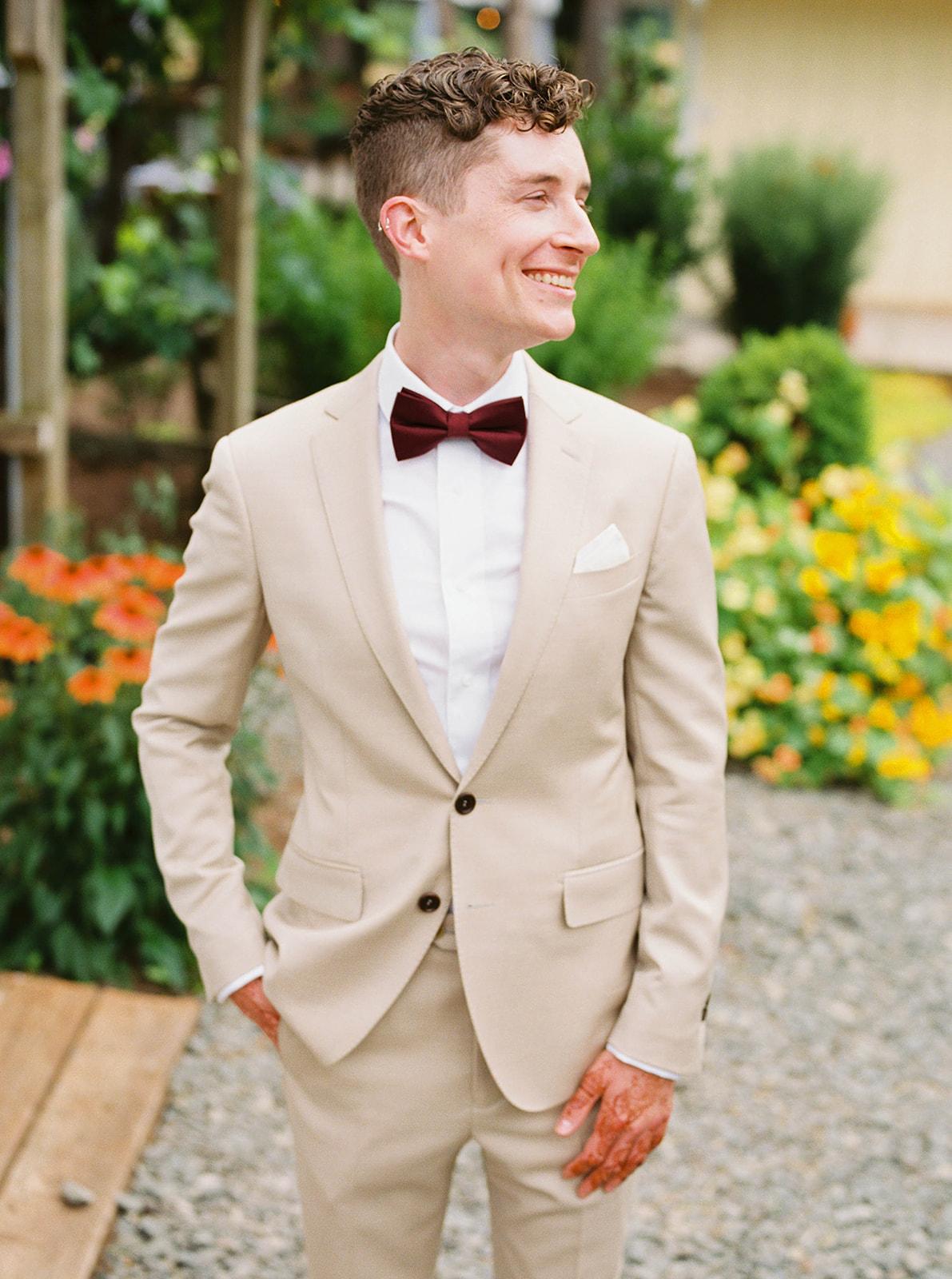 justin kevin wedding justin posing in suit
