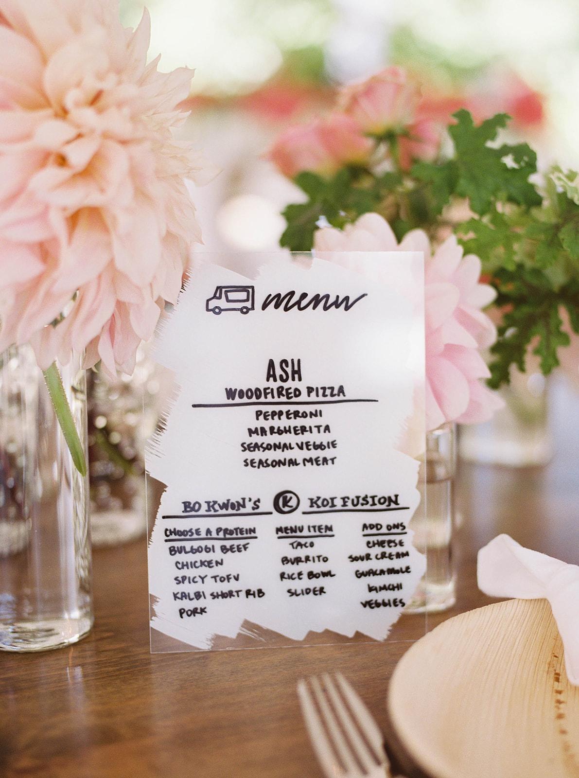 justin kevin wedding menu design