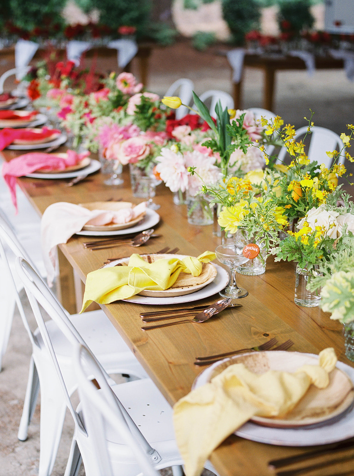 justin kevin wedding ombre dinner setting placements