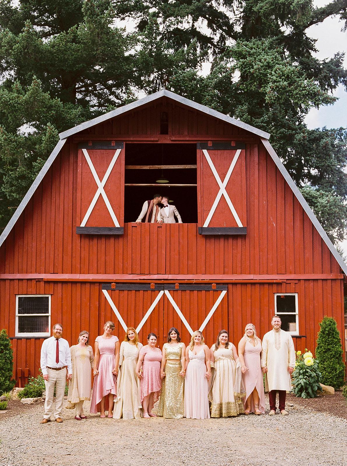 justin kevin wedding party at barn venue