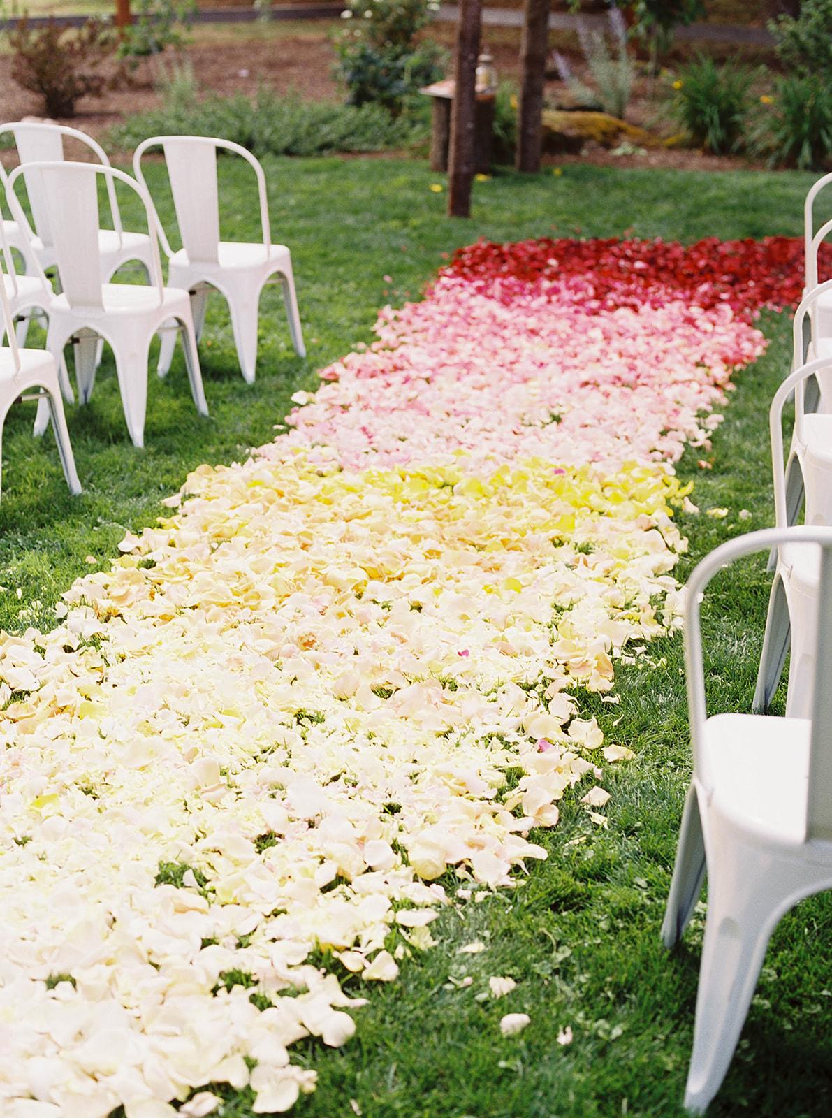 justin kevin wedding colorful rainbow aisle runner