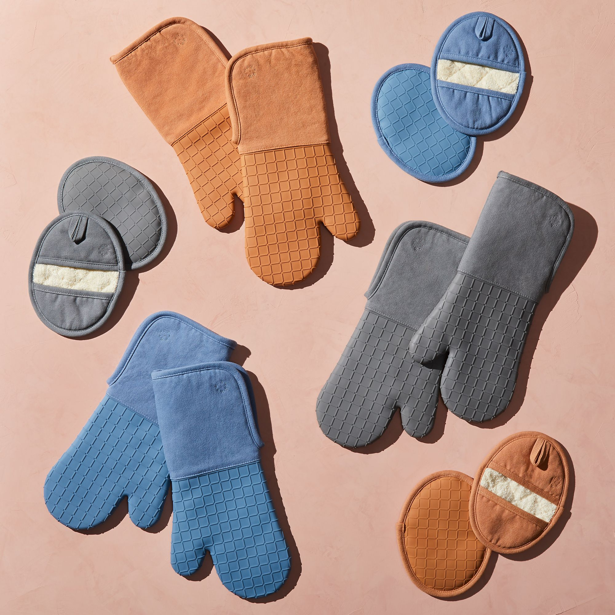 Five Two Silicone Oven Mitt Set assorted colors