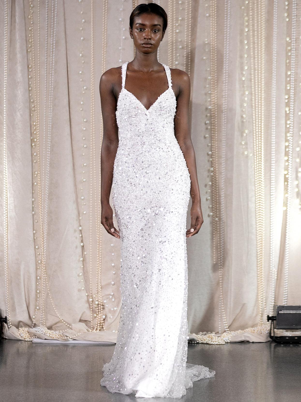 Lee Petra Grebenau sequined v-neck sheath wedding dress fall 2020