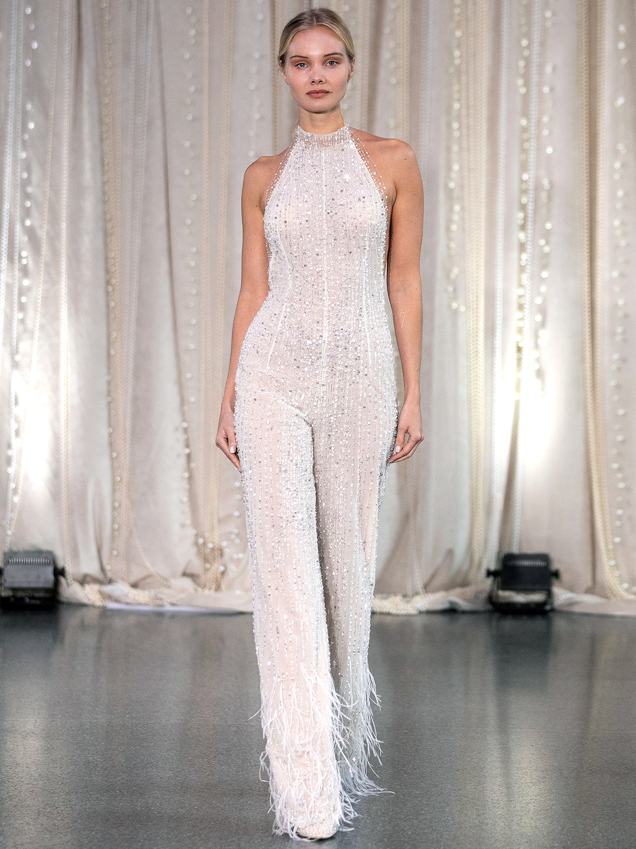 Lee Petra Grebenau high-neck halter jumpsuit wedding dress fall 2020