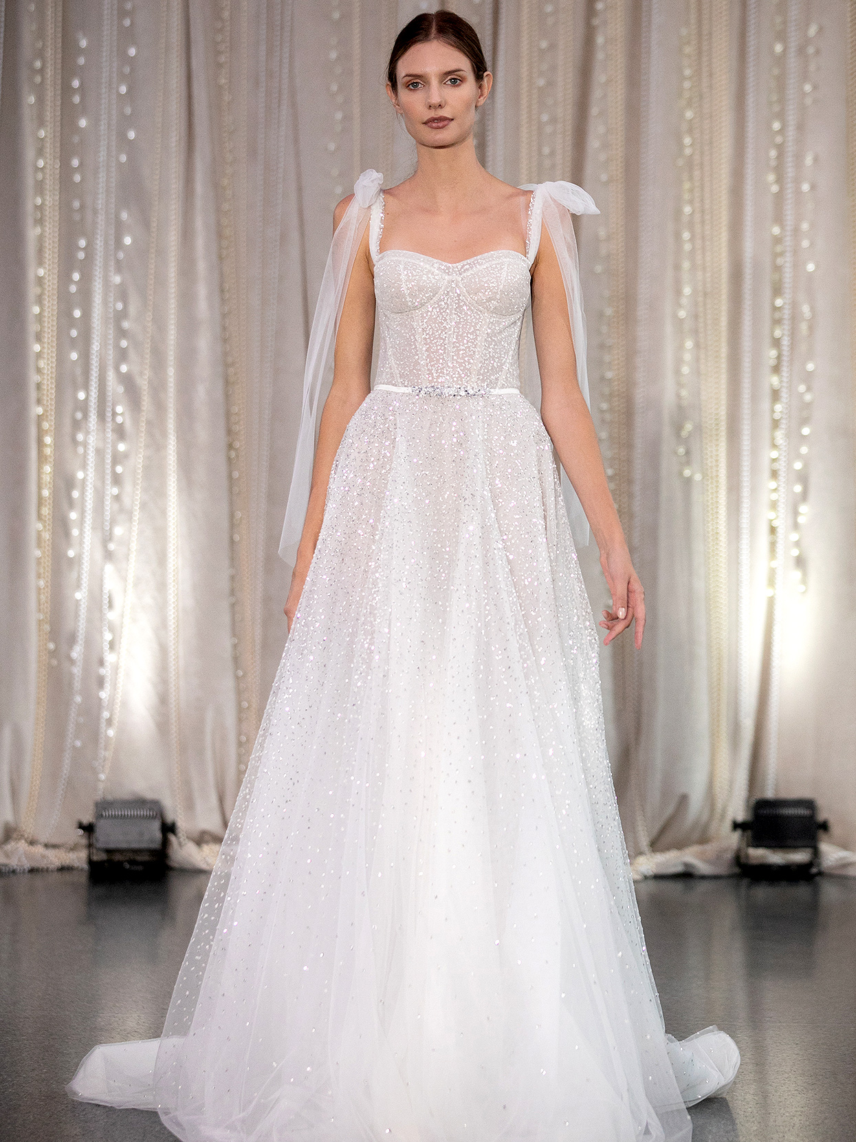 Lee Petra Grebenau structured bodice with tie sleeves wedding dress fall 2020
