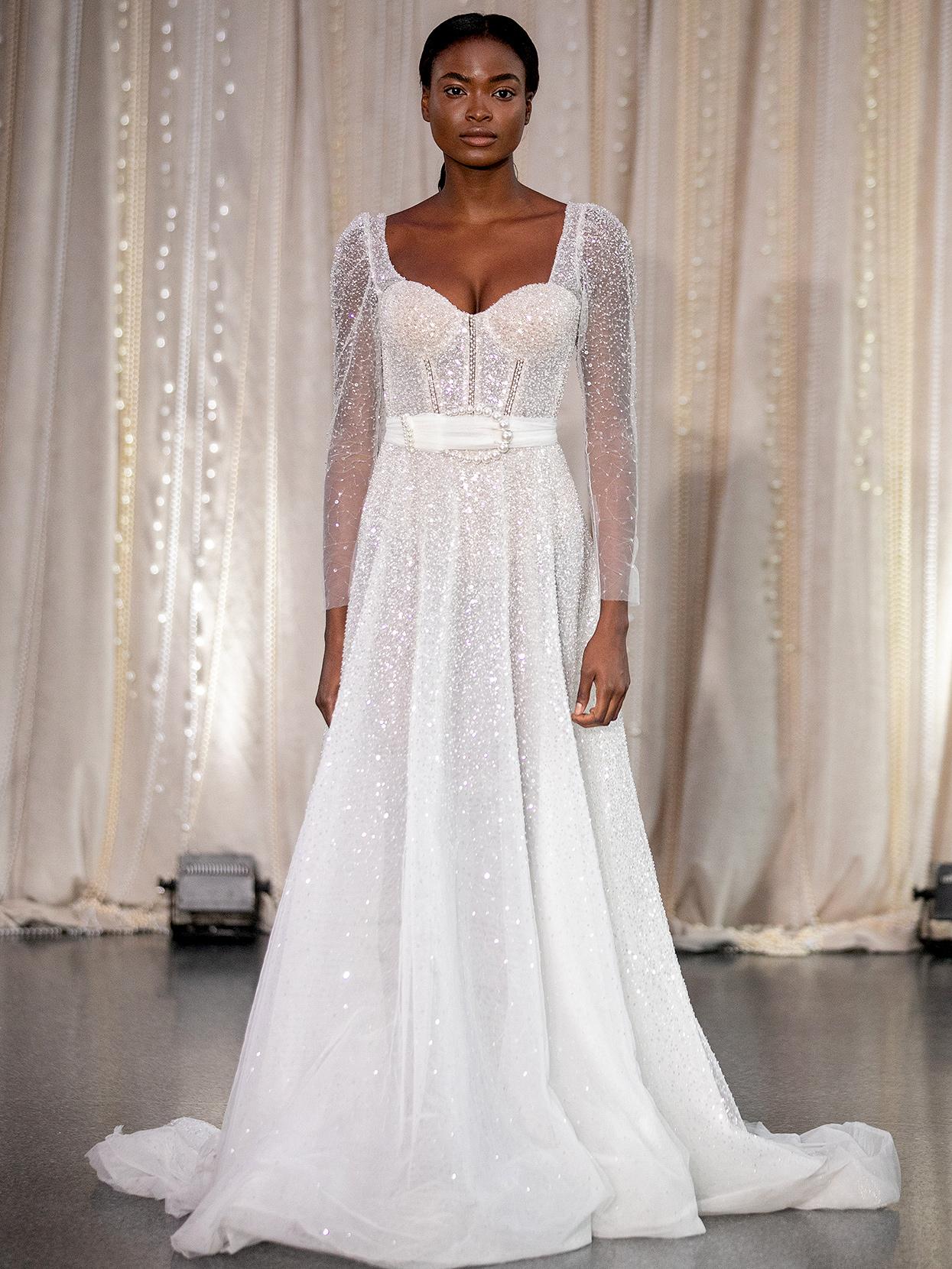Lee Petra Grebenau embellished long-sleeve with belt wedding dress fall 2020