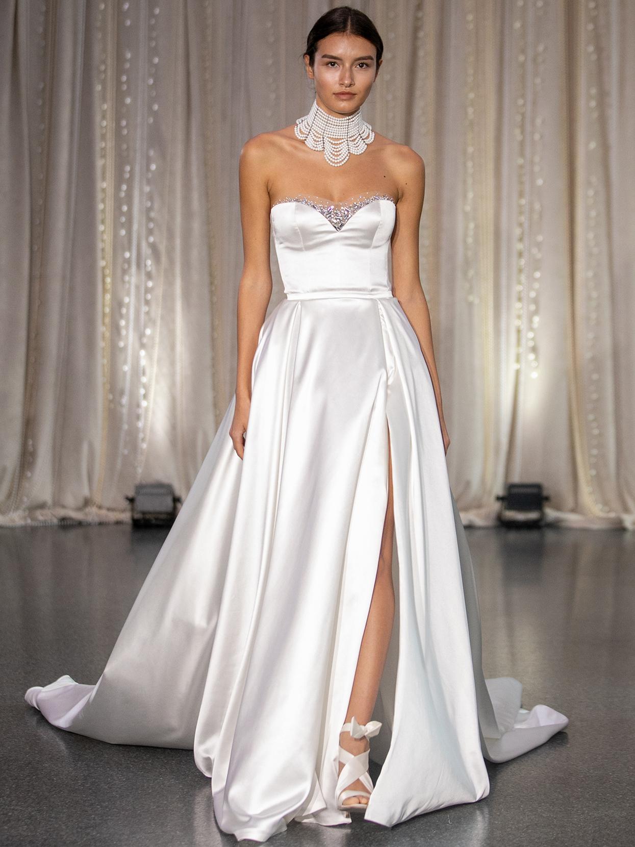 Lee Petra Grebenau sweetheart embellished neckline a-line wedding dress fall 2020
