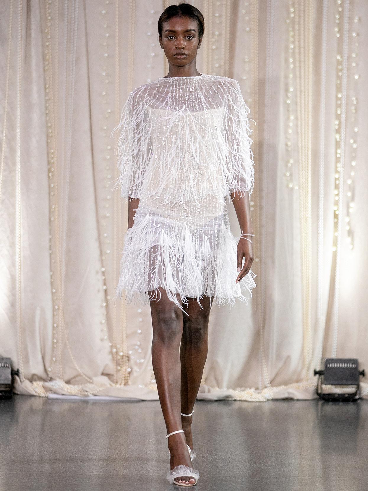Lee Petra Grebenau high-neck short with ostrich feathers wedding dress fall 2020