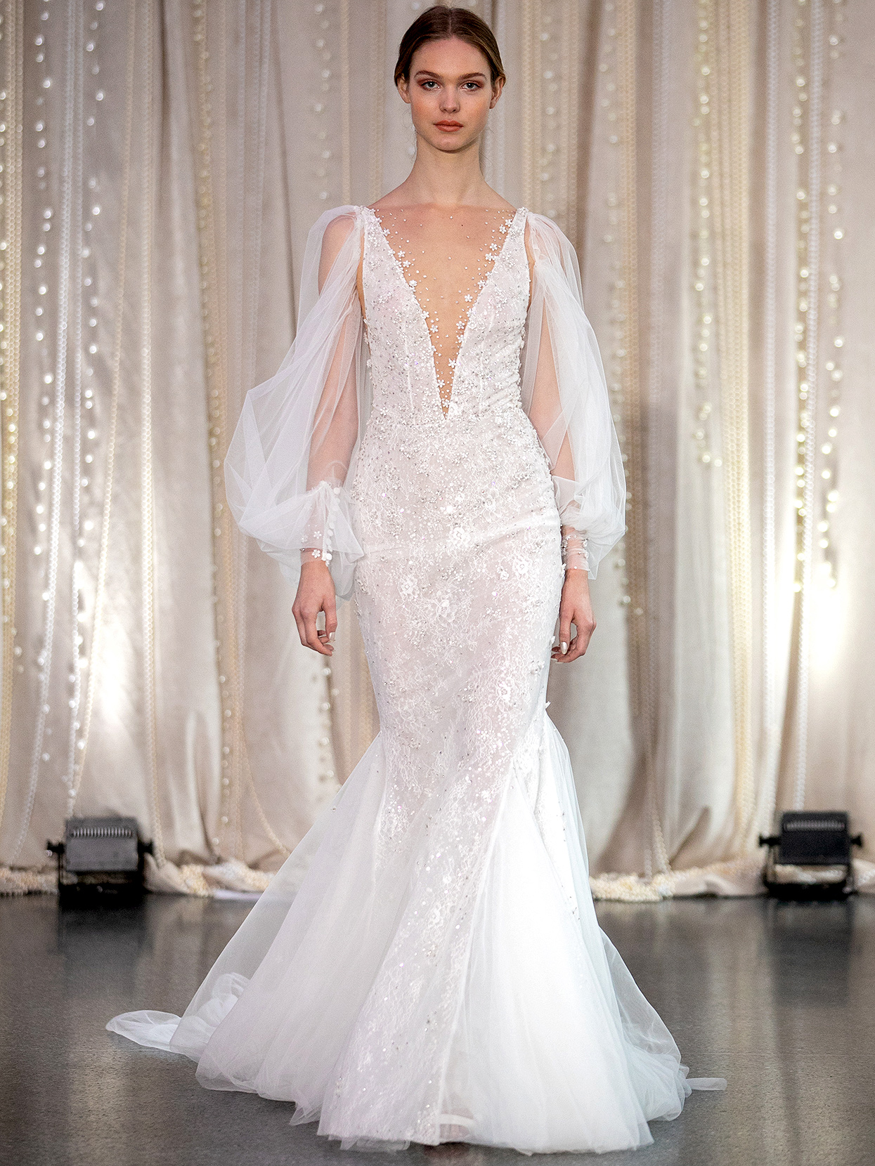 Lee Petra Grebenau plunging neck bishop-sleeved mermaid wedding dress fall 2020