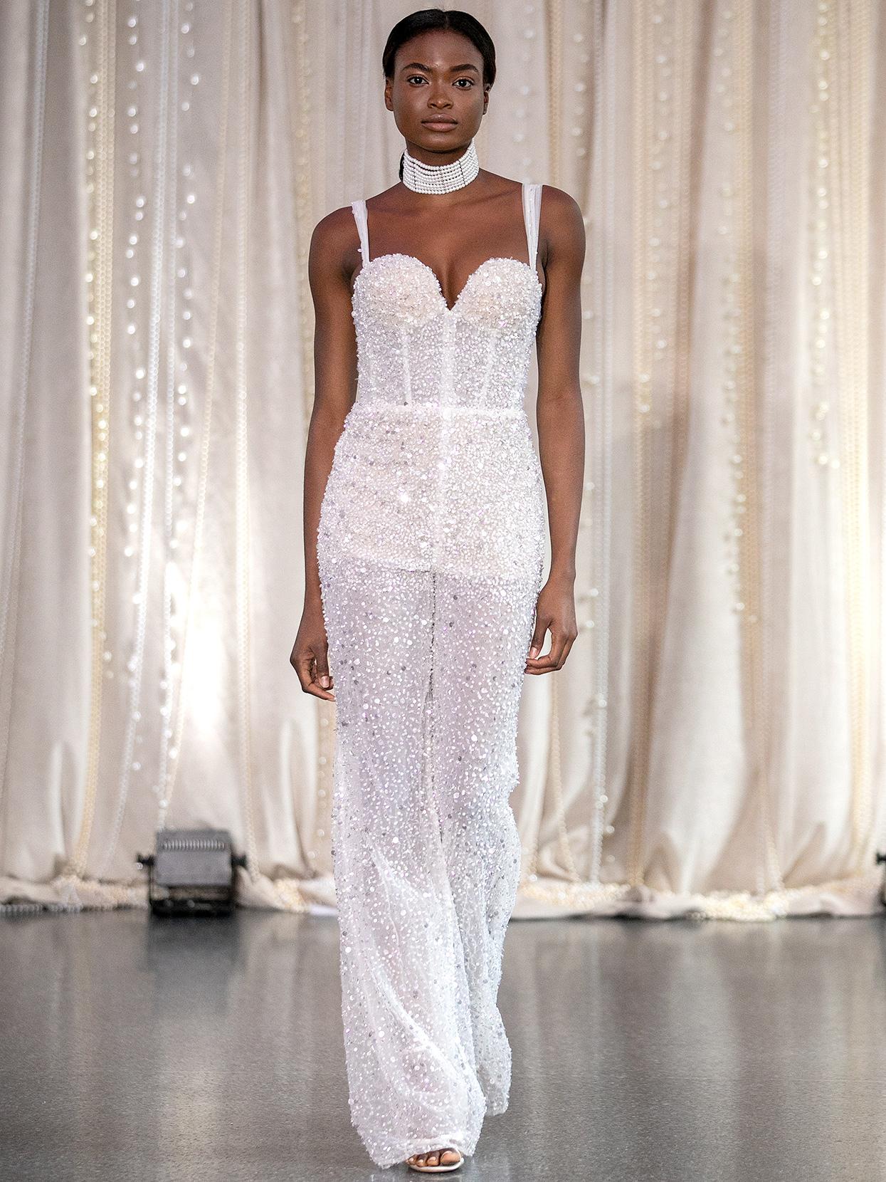 Lee Petra Grebenau sequined sweetheart jumpsuit wedding dress fall 2020