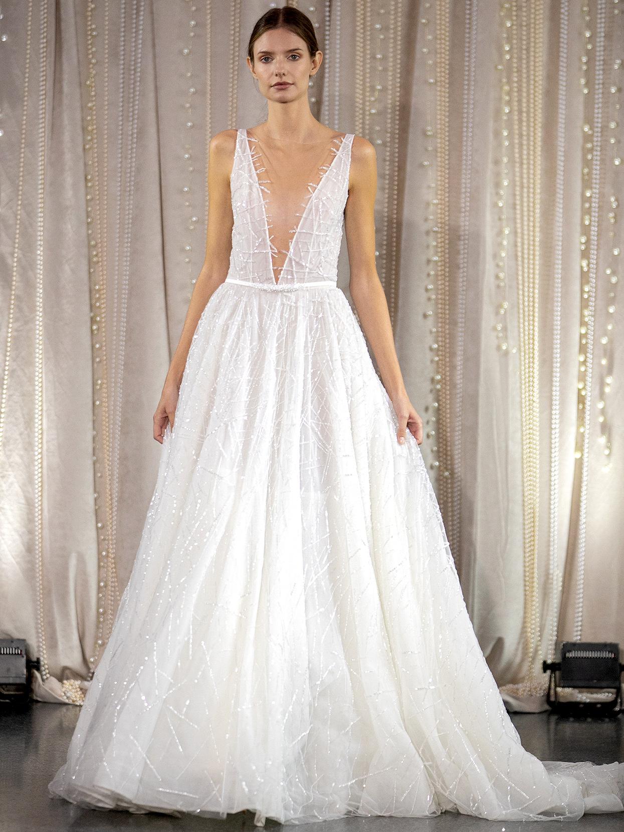 Lee Petra Grebenau plunging neck embellished with belt wedding dress fall 2020