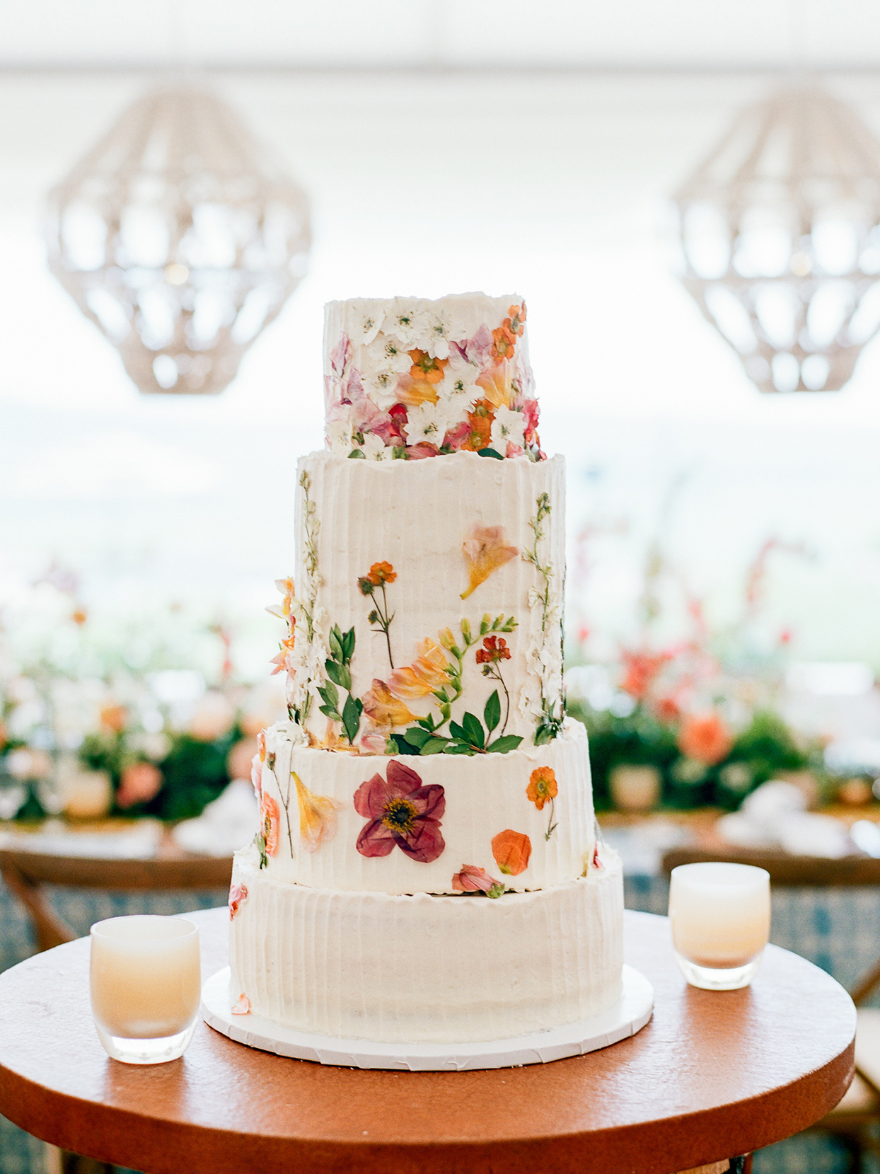 logan conor wedding cake with pressed flowers