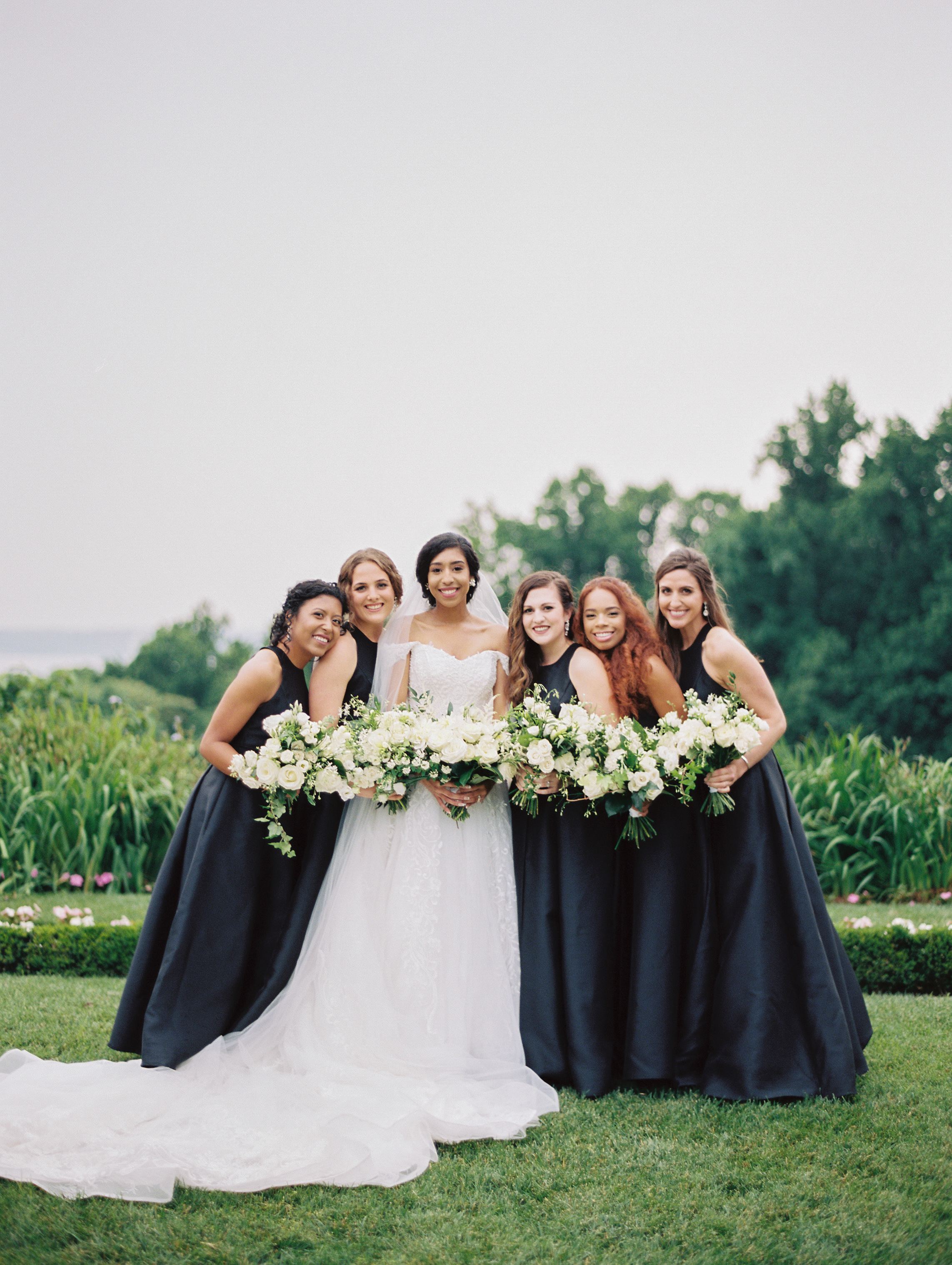 macey joshua wedding bridesmaids in black dresses