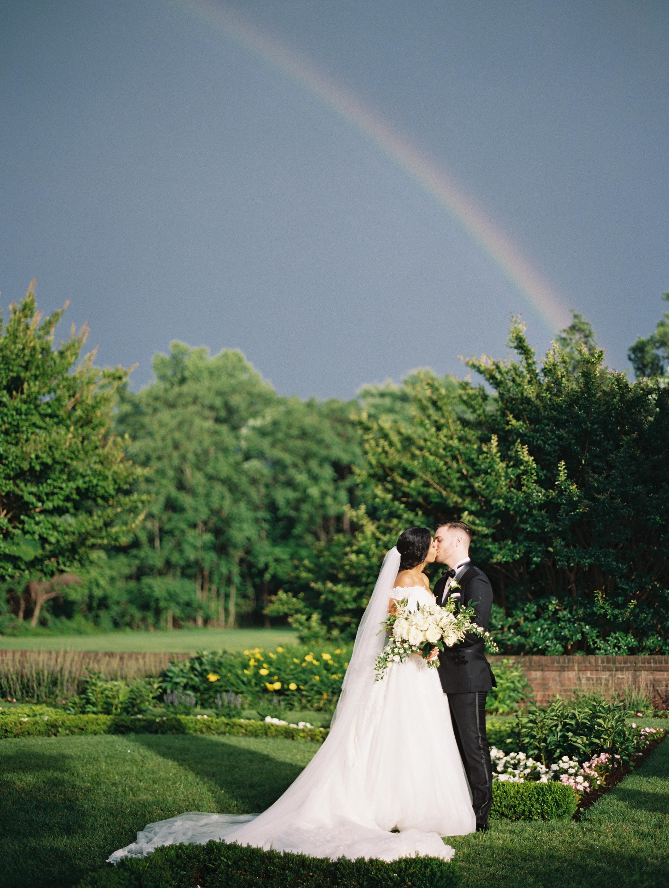 macey joshua wedding couple rainbow