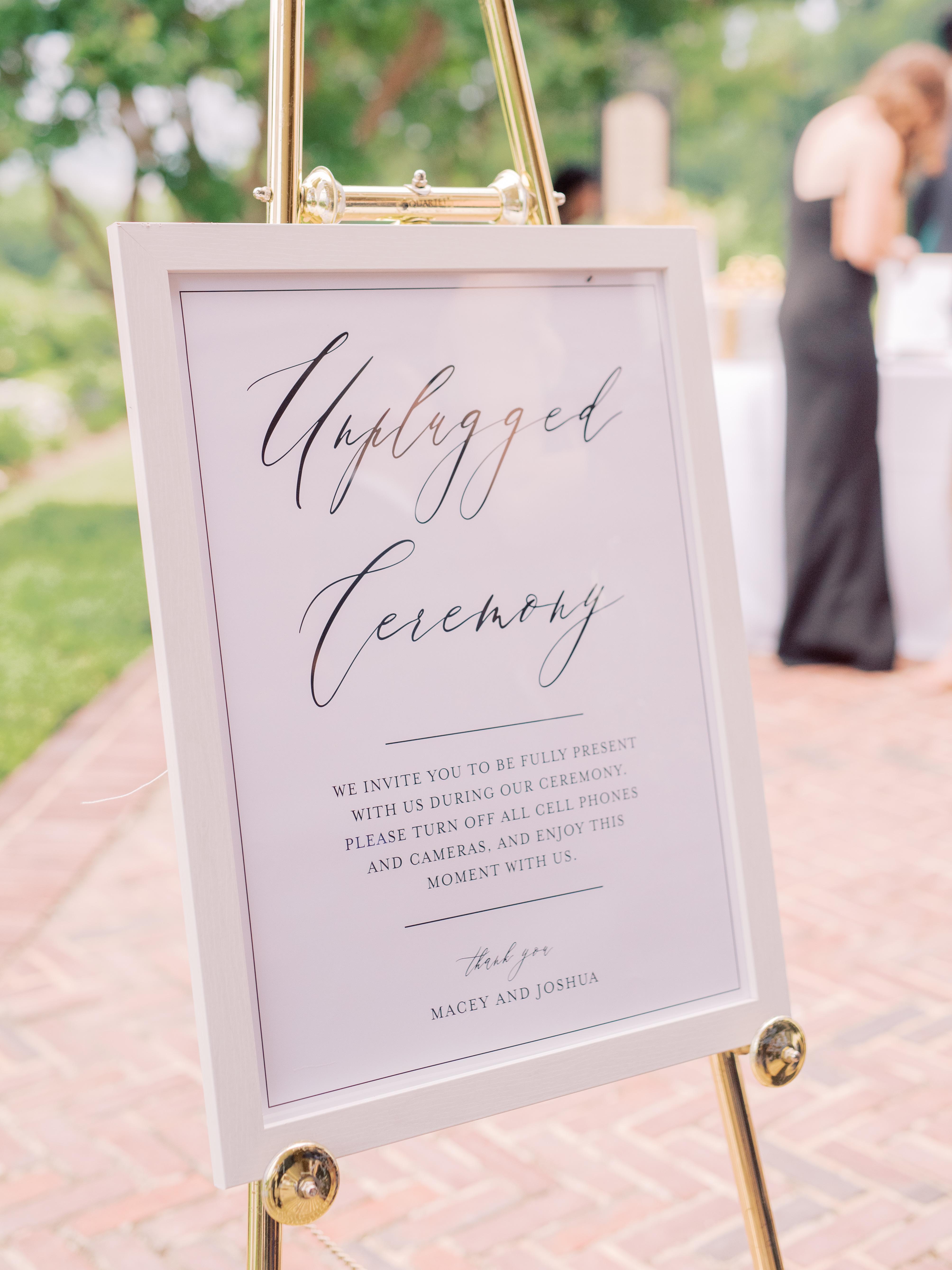 macey joshua unplugged wedding sign