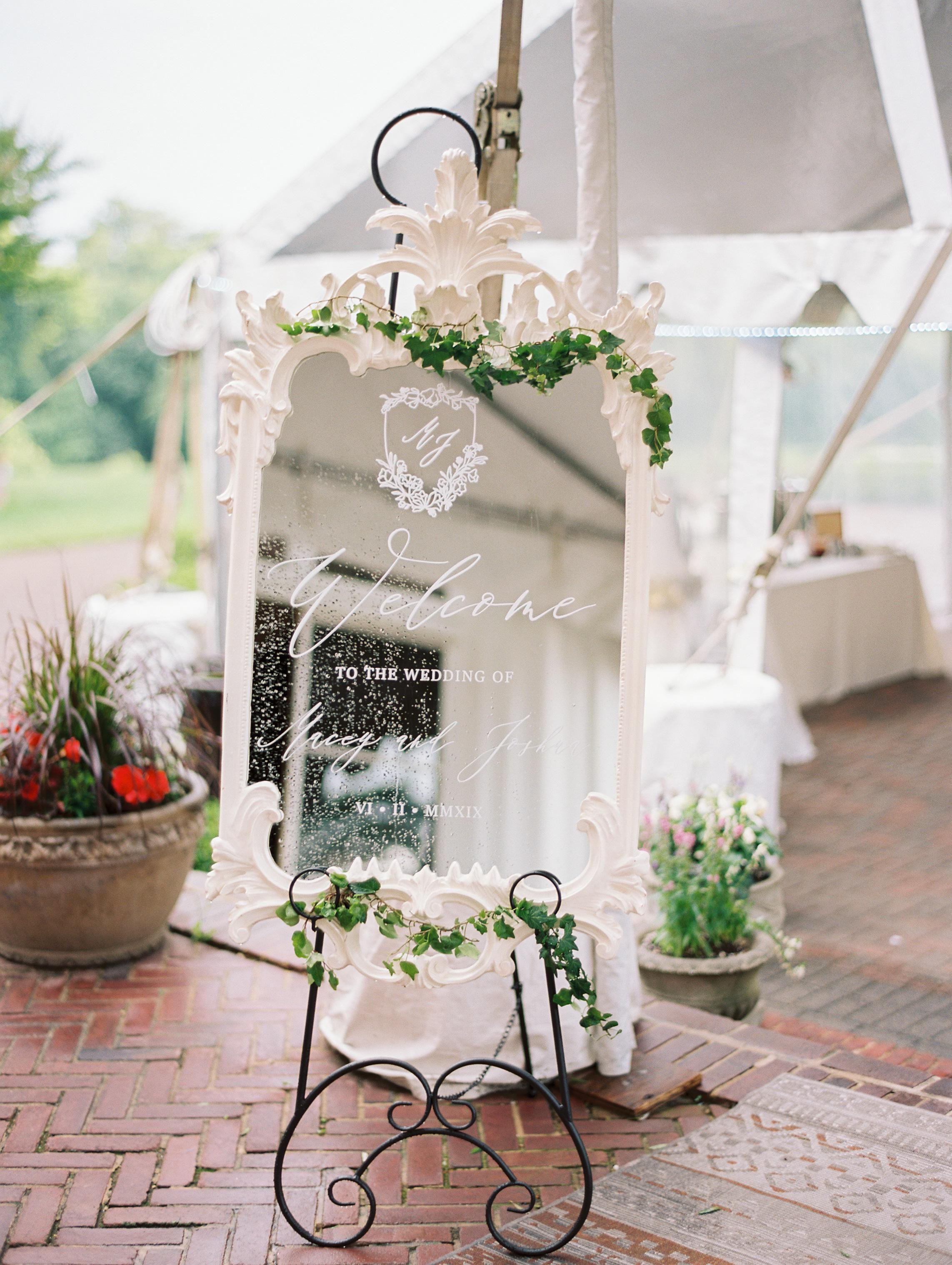 macey joshua wedding reception welcome sign
