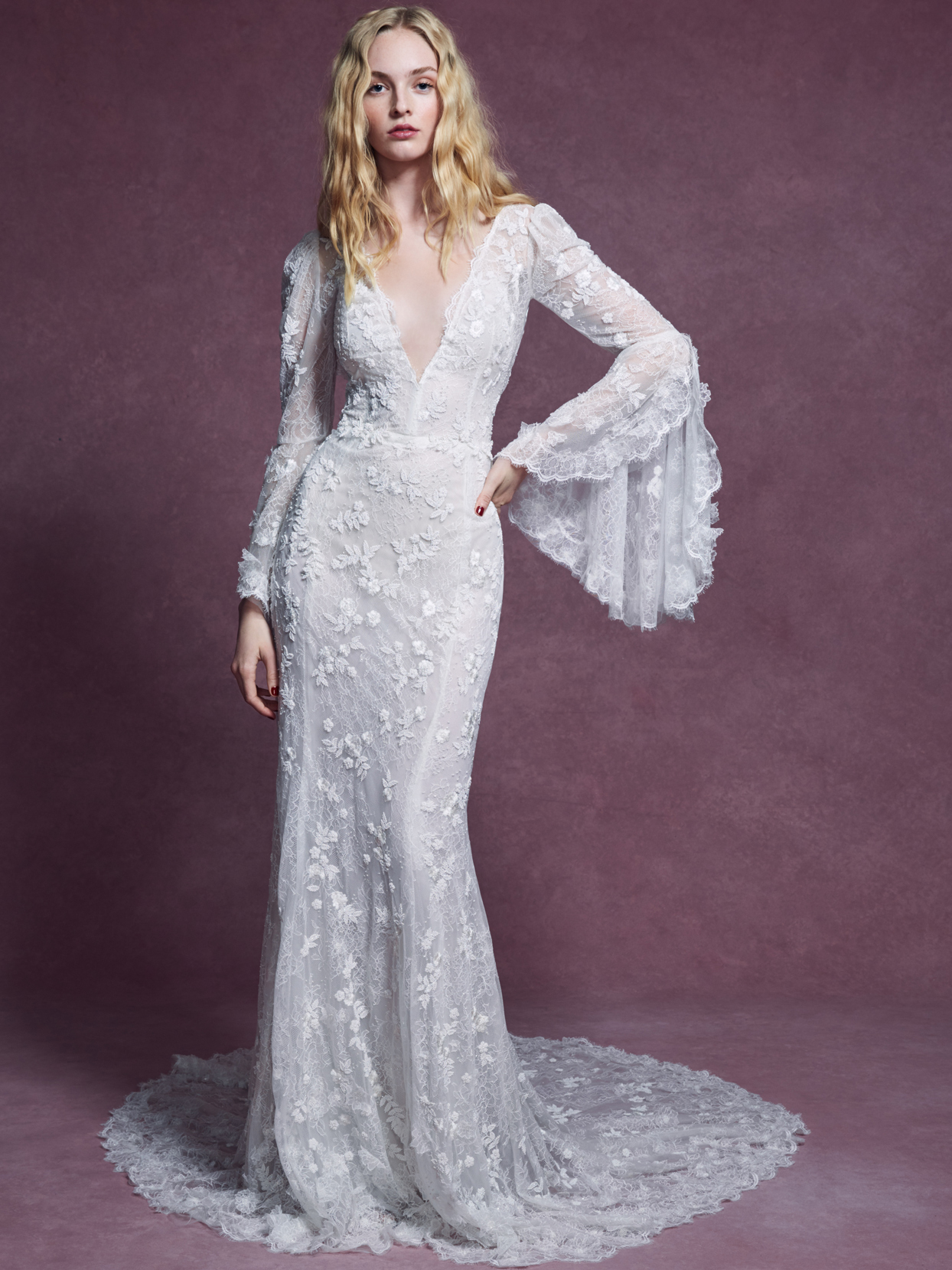 Marchesa deep v-neck lace long bell sleeve fit-to-flare wedding dress fall 2020