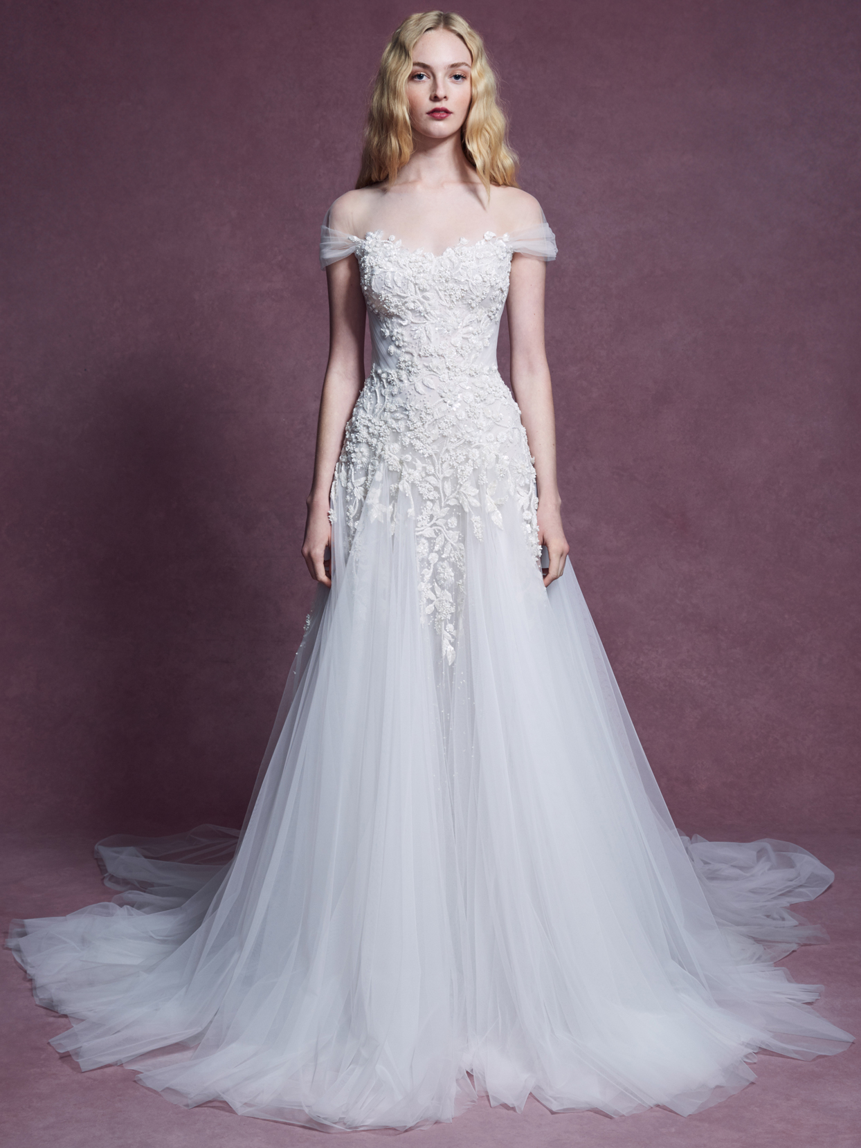 Marchesa off the shoulder tulle a-line wedding dress fall 2020