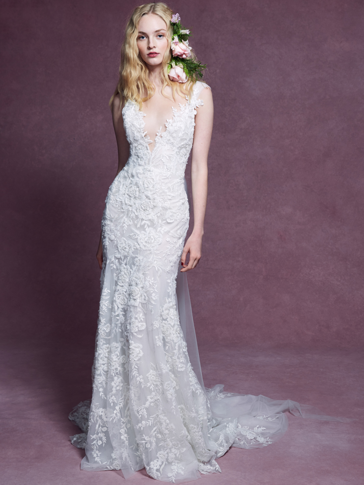 Marchesa plunging v-neck lace fit to flare wedding dress fall 2020