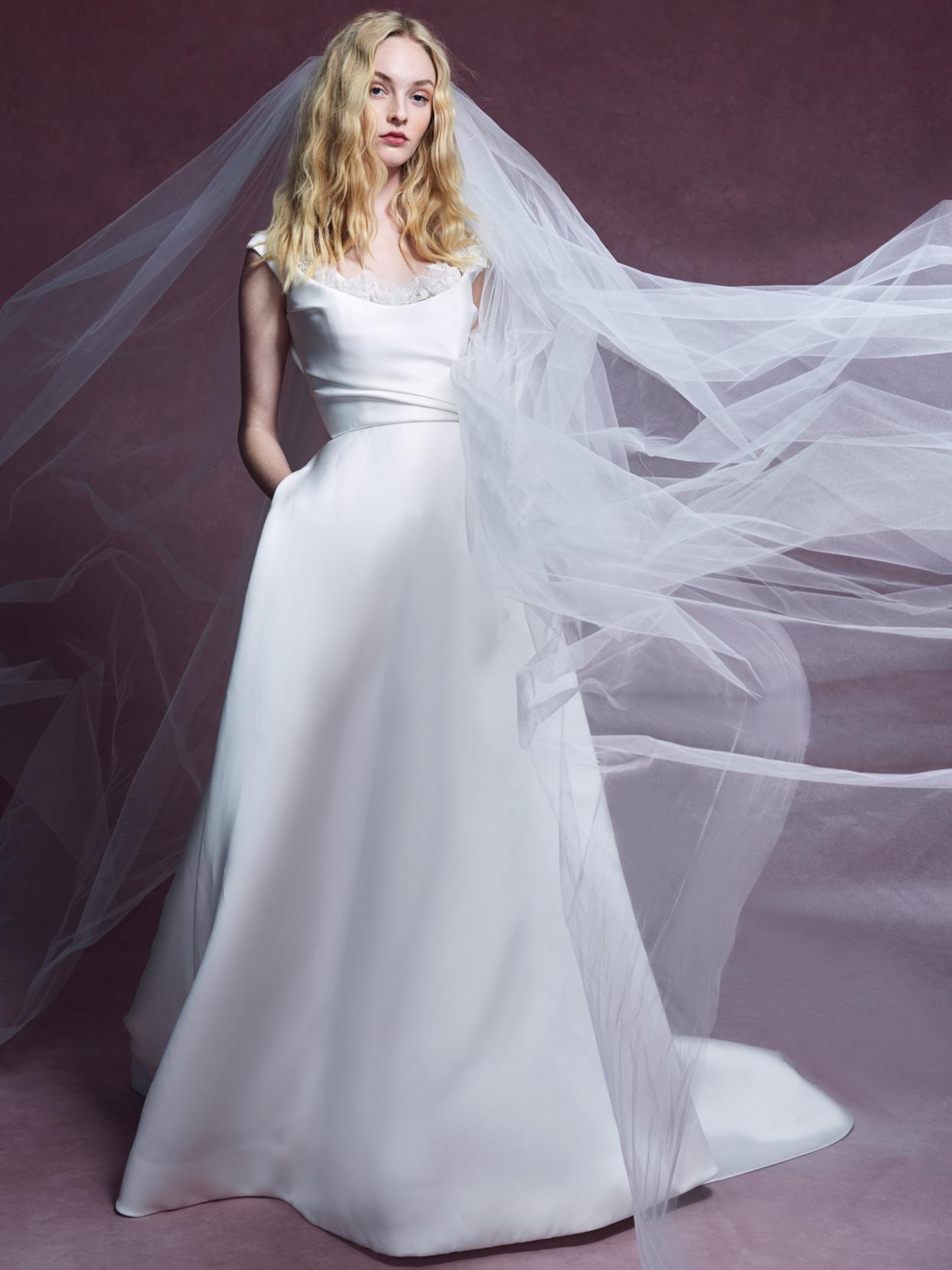 Marchesa scoop neckline cap sleeve a-line wedding dress fall 2020
