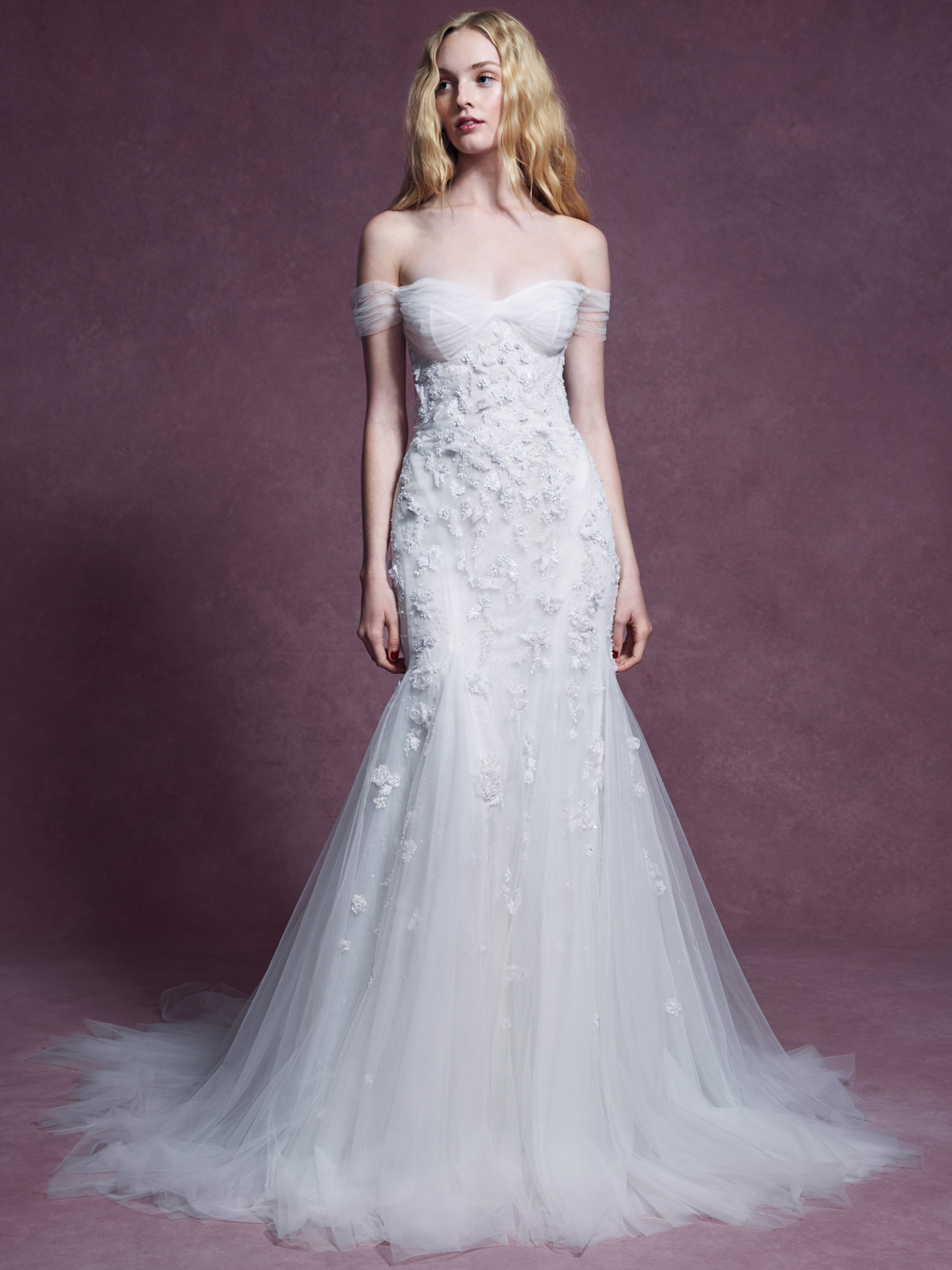 Marchesa tulle off the shoulder floral embroidered mermaid wedding dress fall 2020