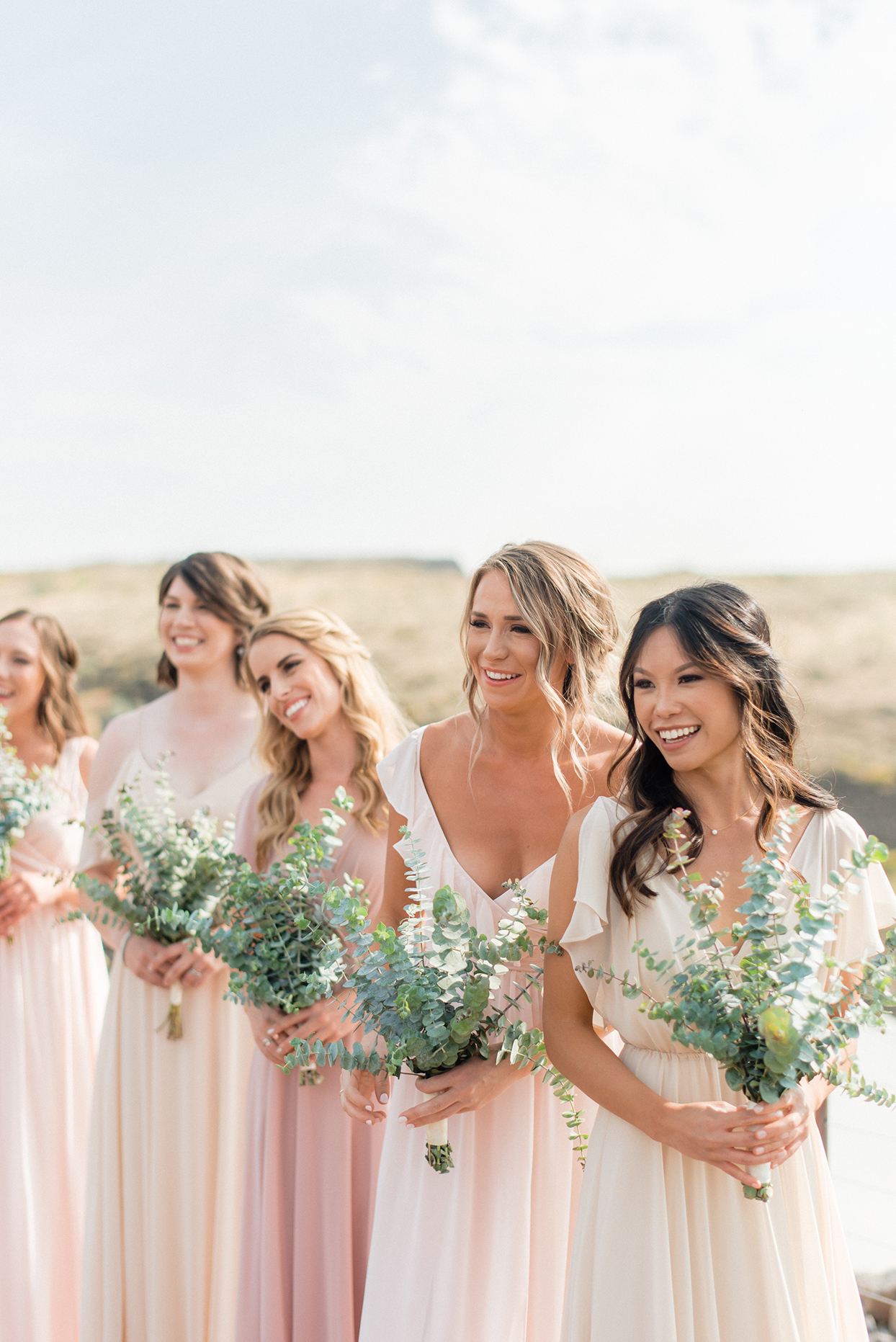 micaela curtis wedding bridesmaids greenery bouquets