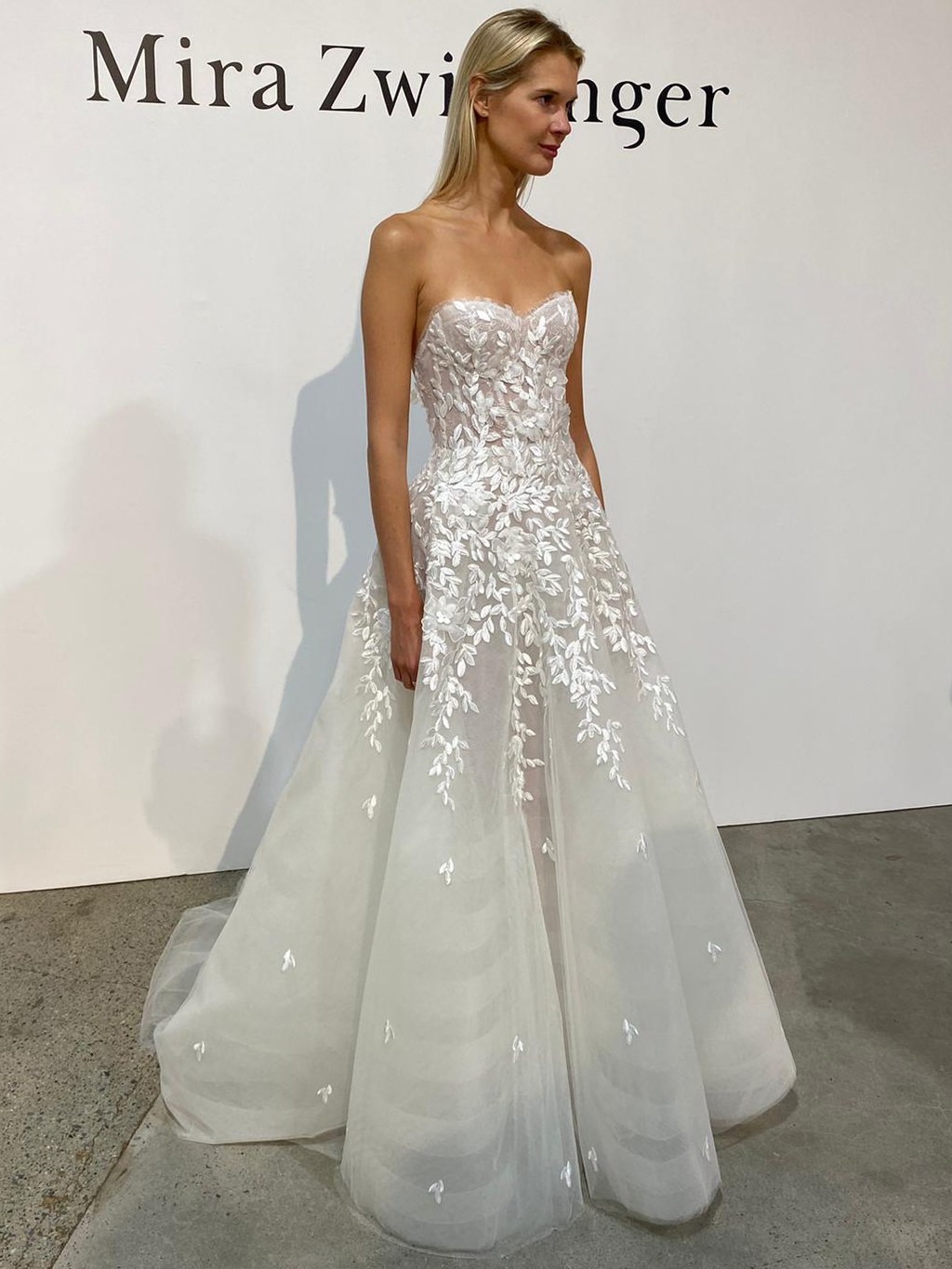 Mira Zwillinger corset strapless tulle 3D floral applique a-line wedding dress fall 2020