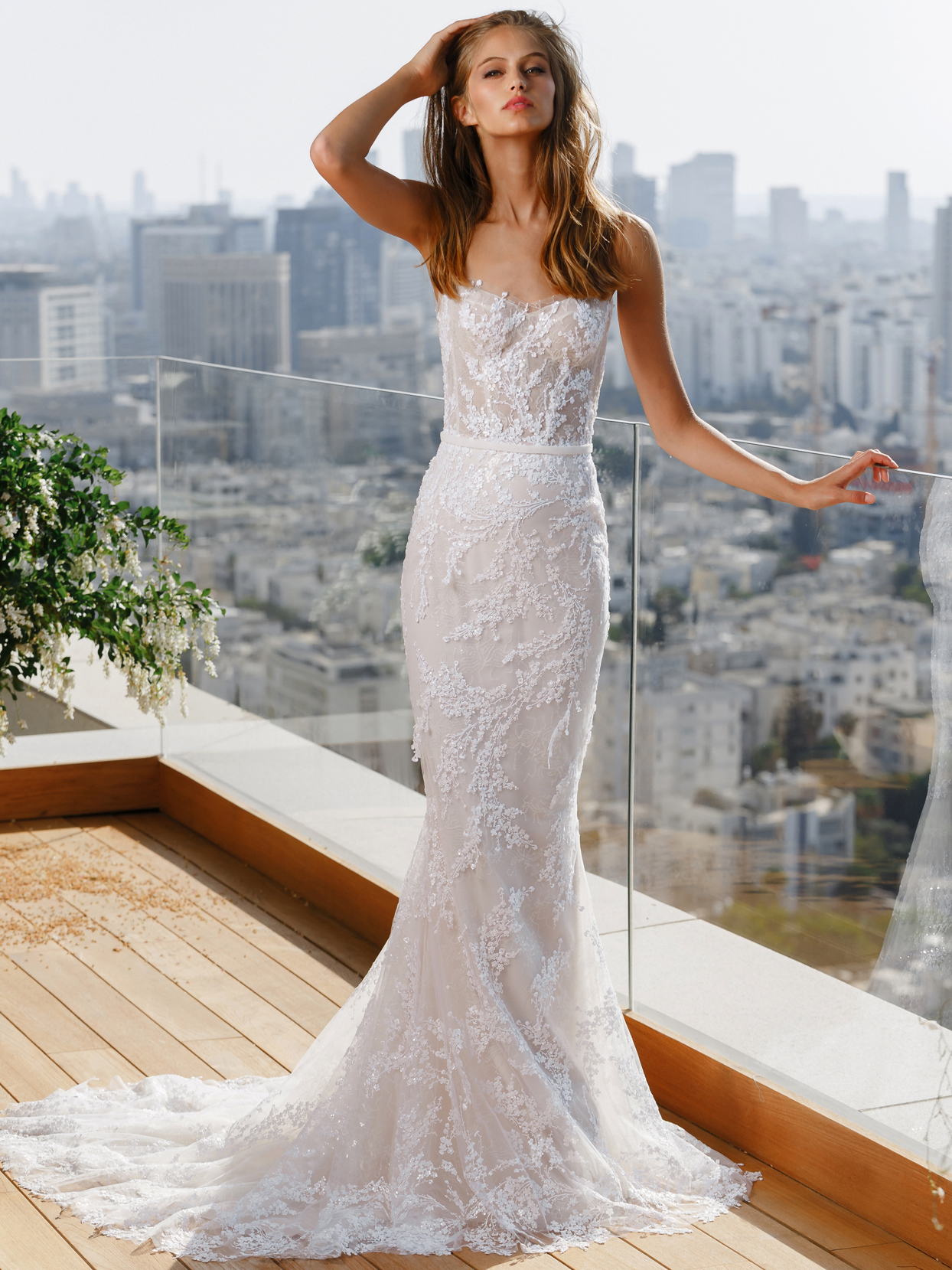 Mira Zwillinger strapless corset fit-and-flare embroidered sequin wedding dress fall 2020