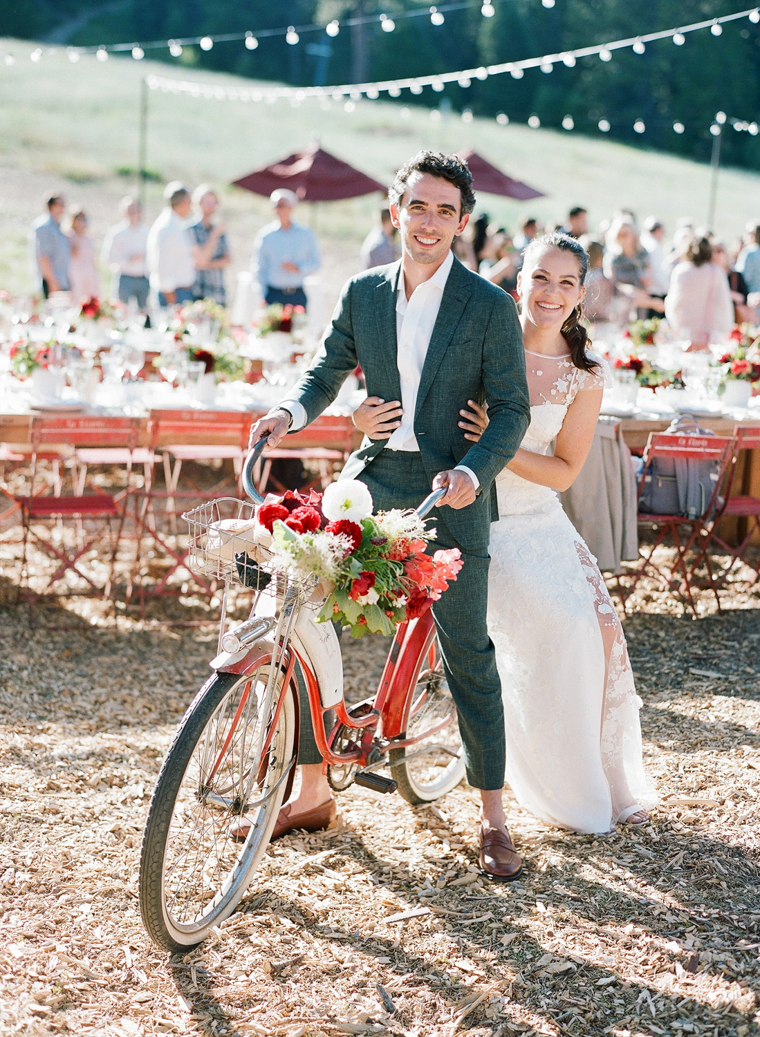 natalie grant rehearsal dinner couple red bicycle