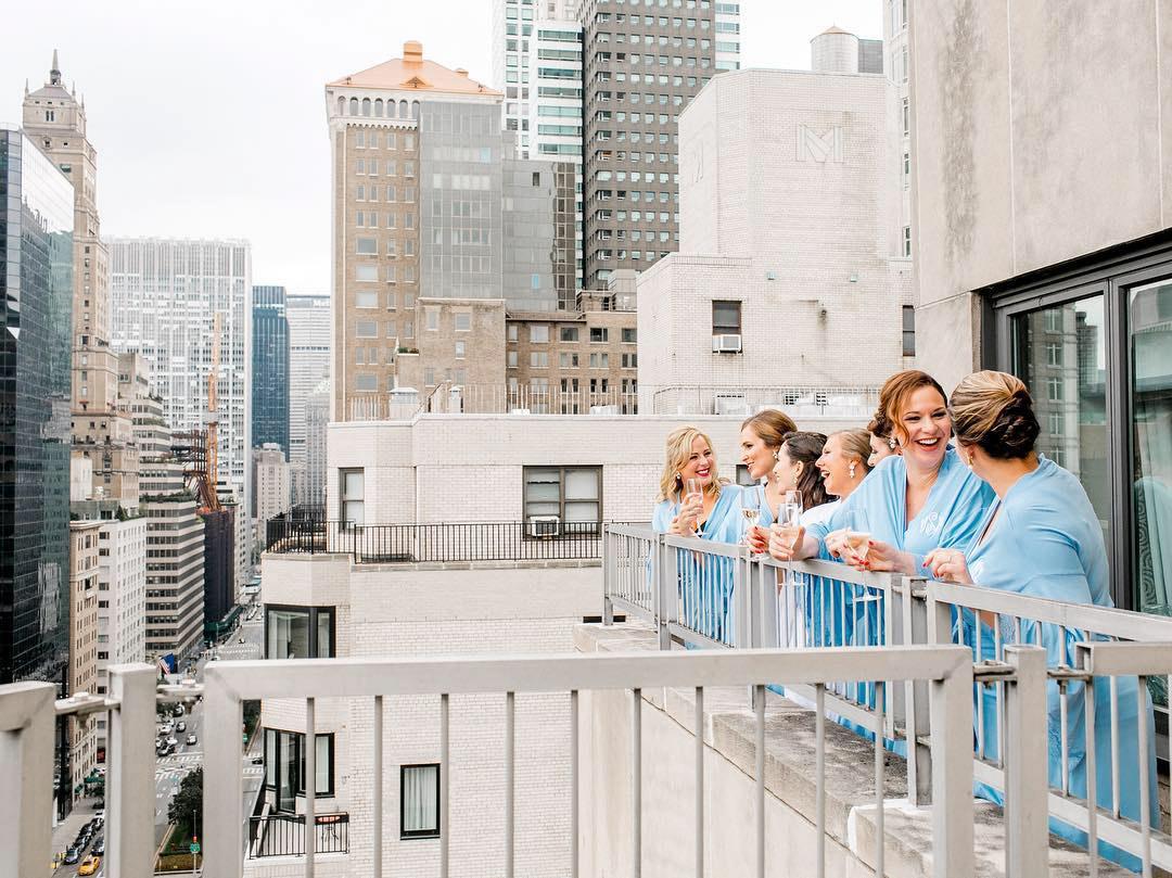 park avenue balcony view bridesmaids